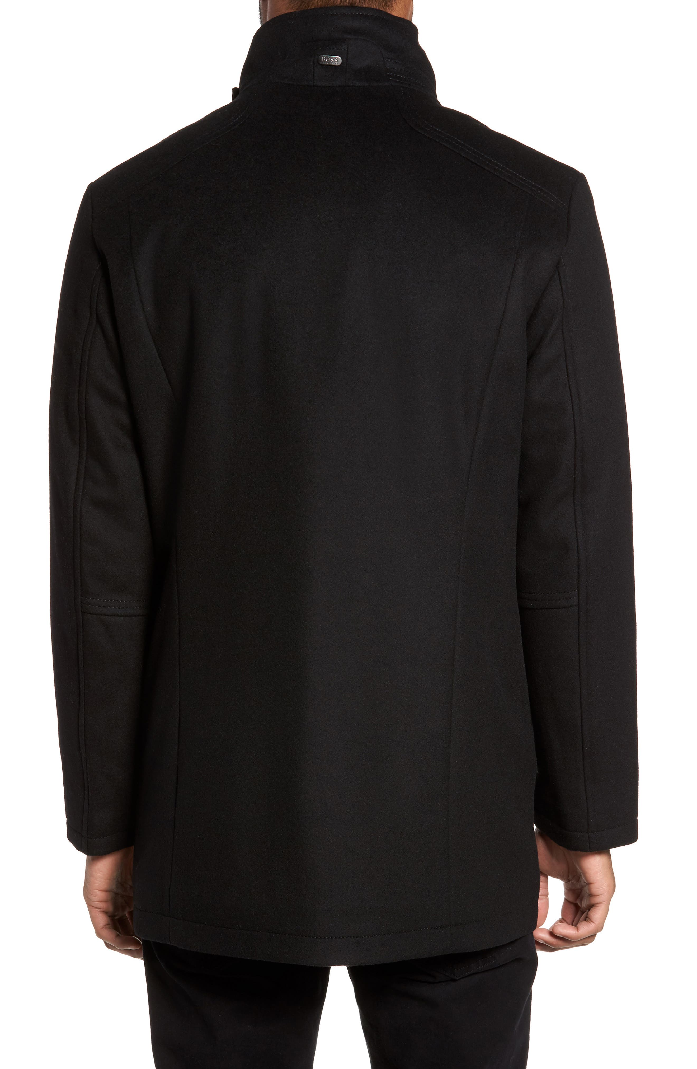 C-Coxtan Wool Blend Coat with Insert,                             Alternate thumbnail 2, color,                             Black