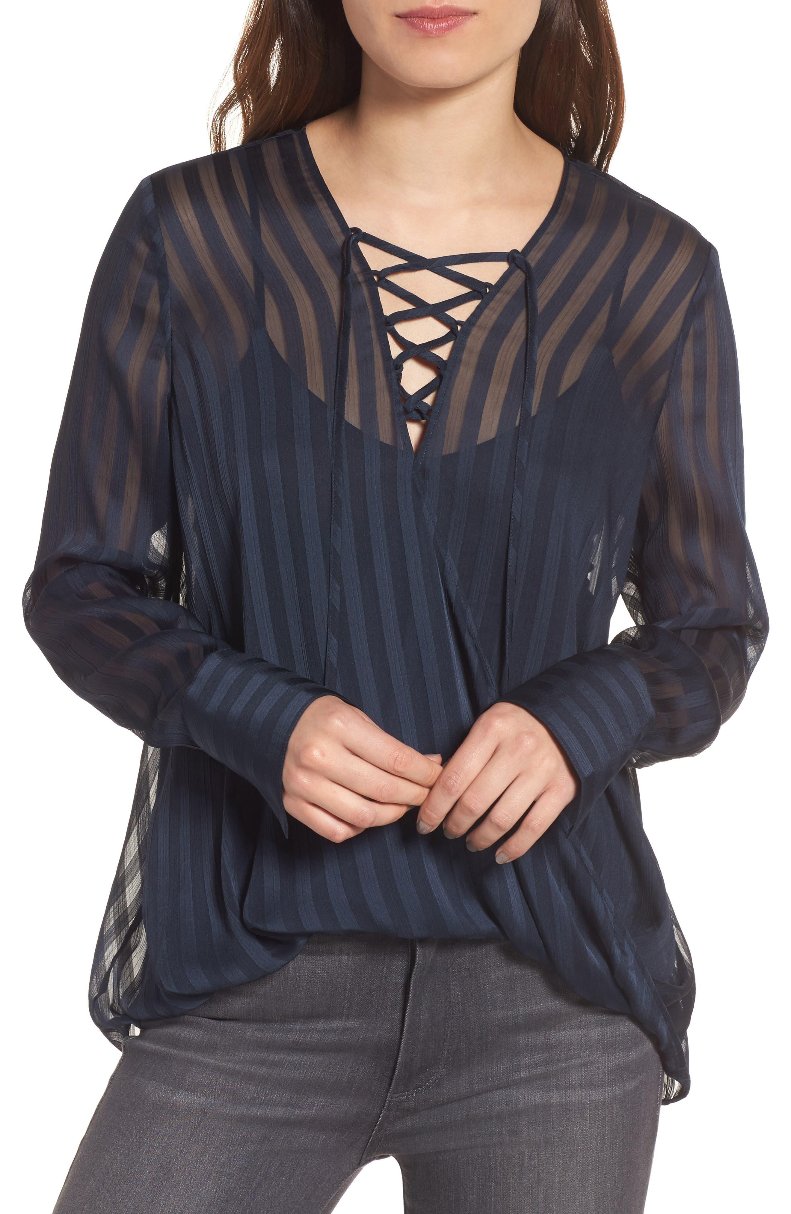 Sheer Shadow Stripe Top,                         Main,                         color, Navy Sapphire