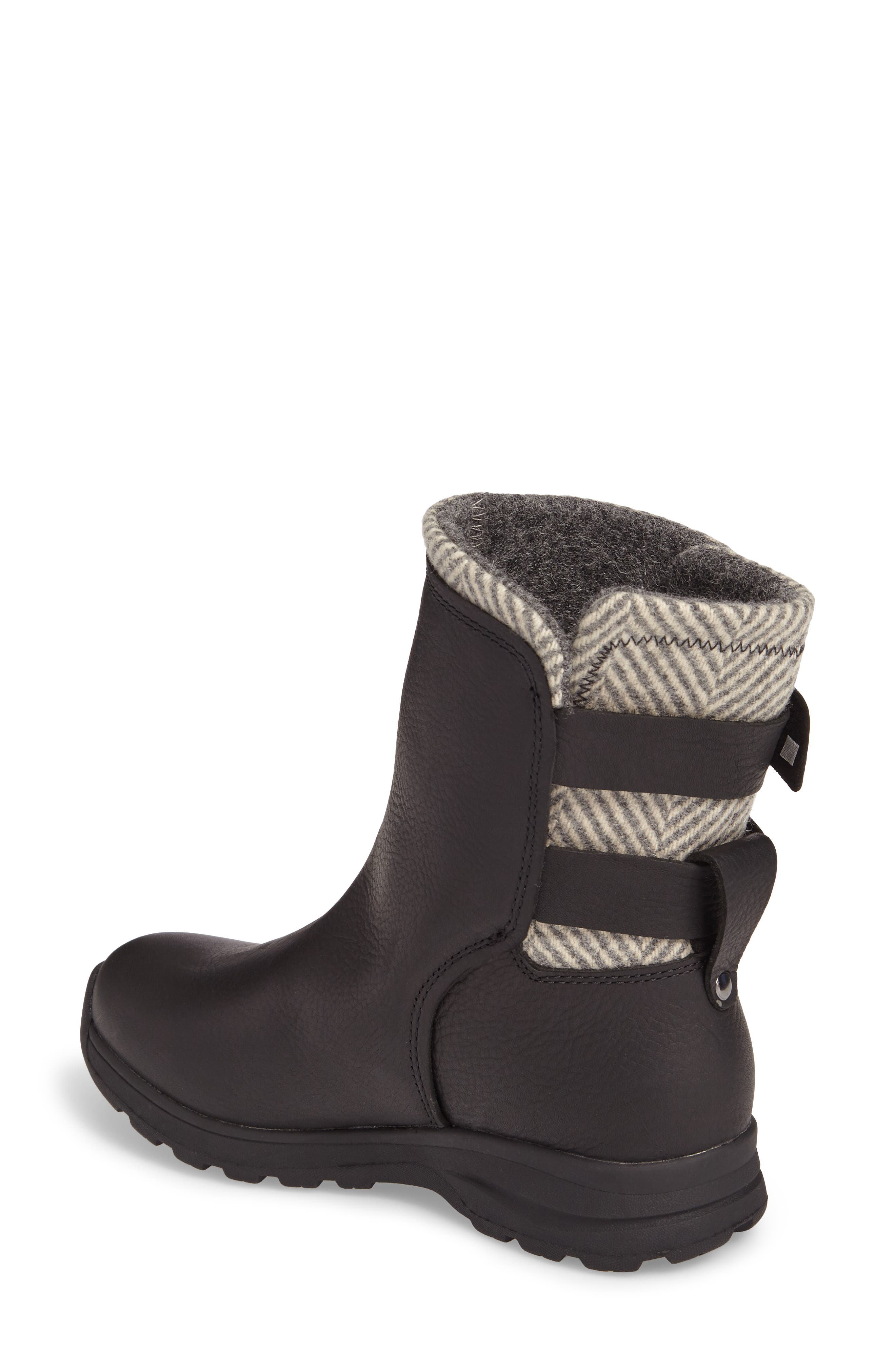 Koosa Waterproof Boot,                             Alternate thumbnail 2, color,                             Black Leather/ Herringbone