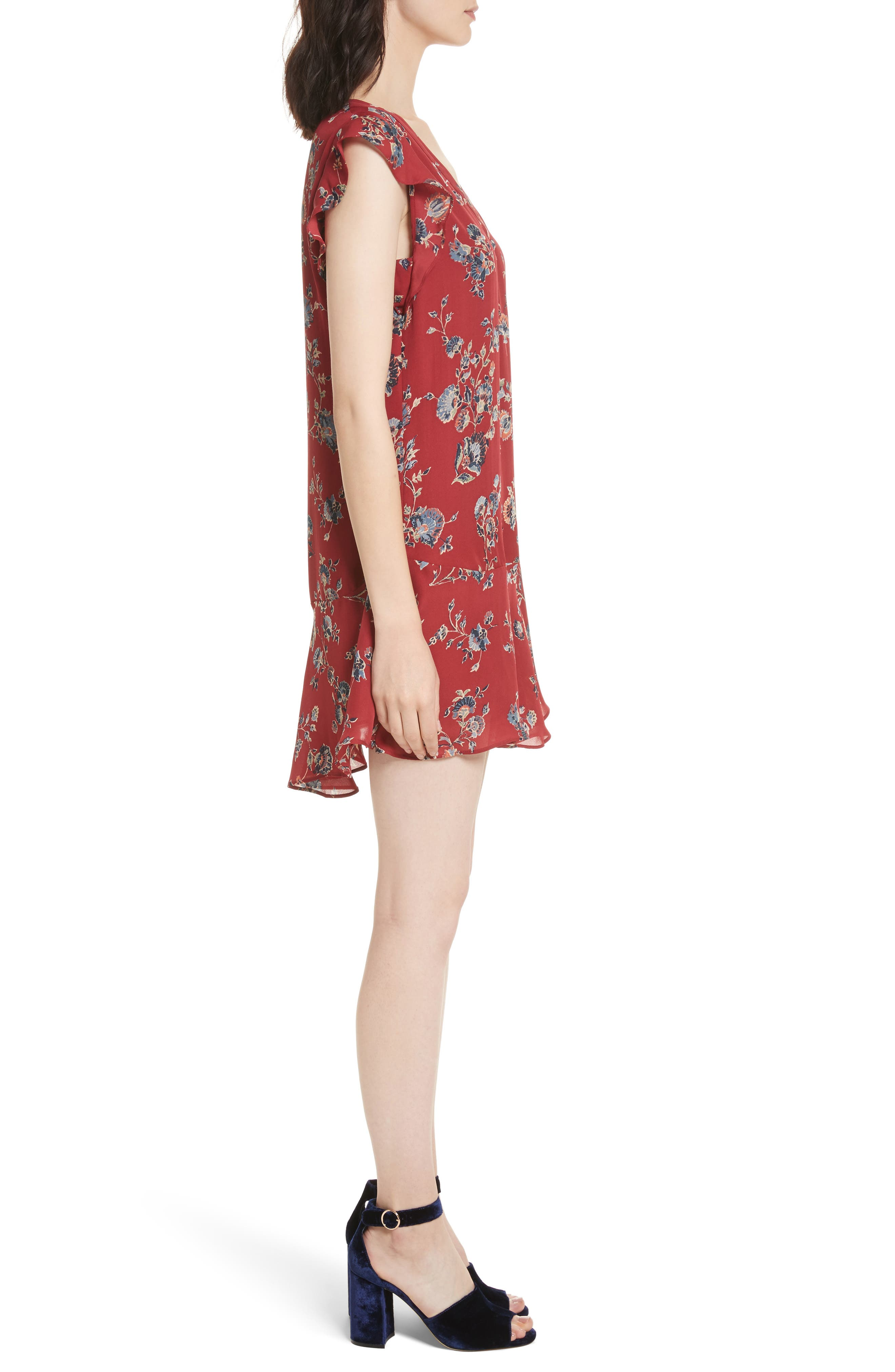 Almarie Floral Silk Mindress,                             Alternate thumbnail 4, color,                             Tandoori Red