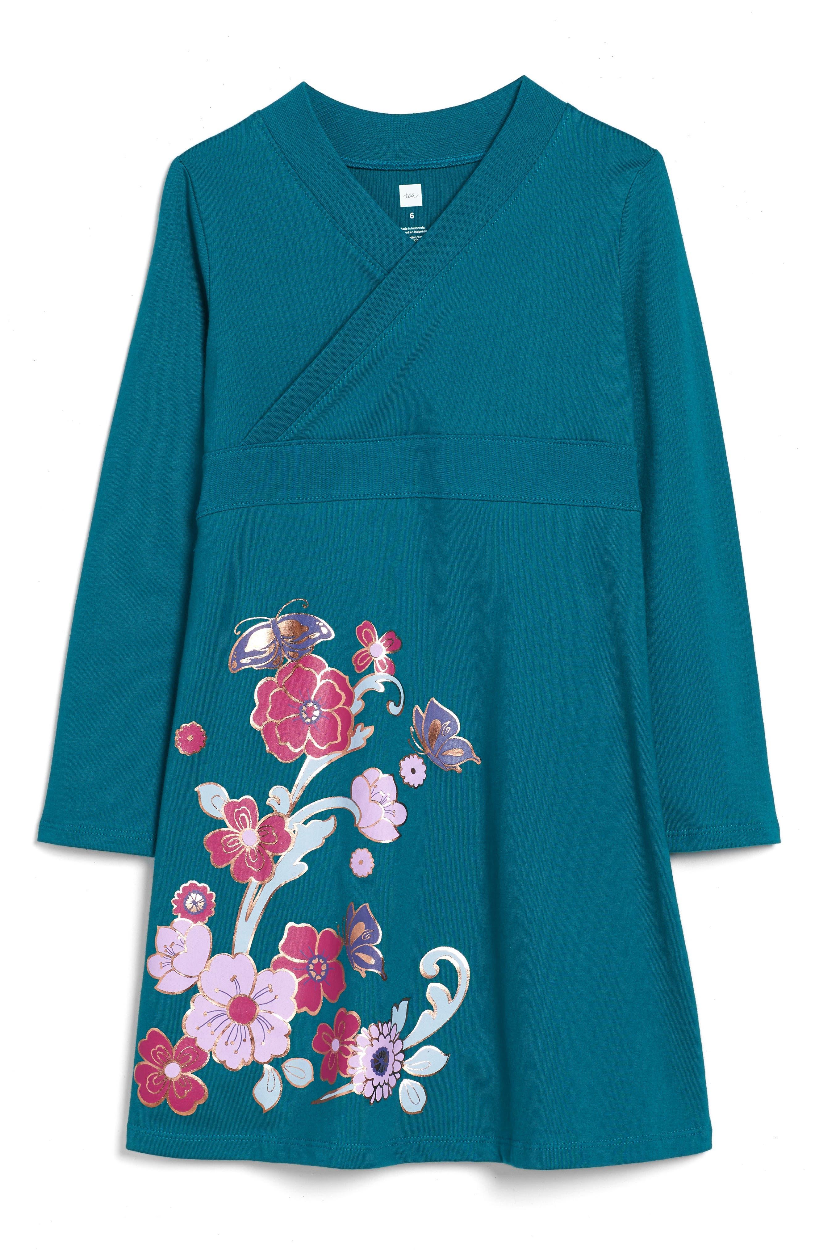 Main Image - Tea Collection Ingram Street Print Wrap Neck Dress (Toddler Girls, Little Girls & Big Girls)