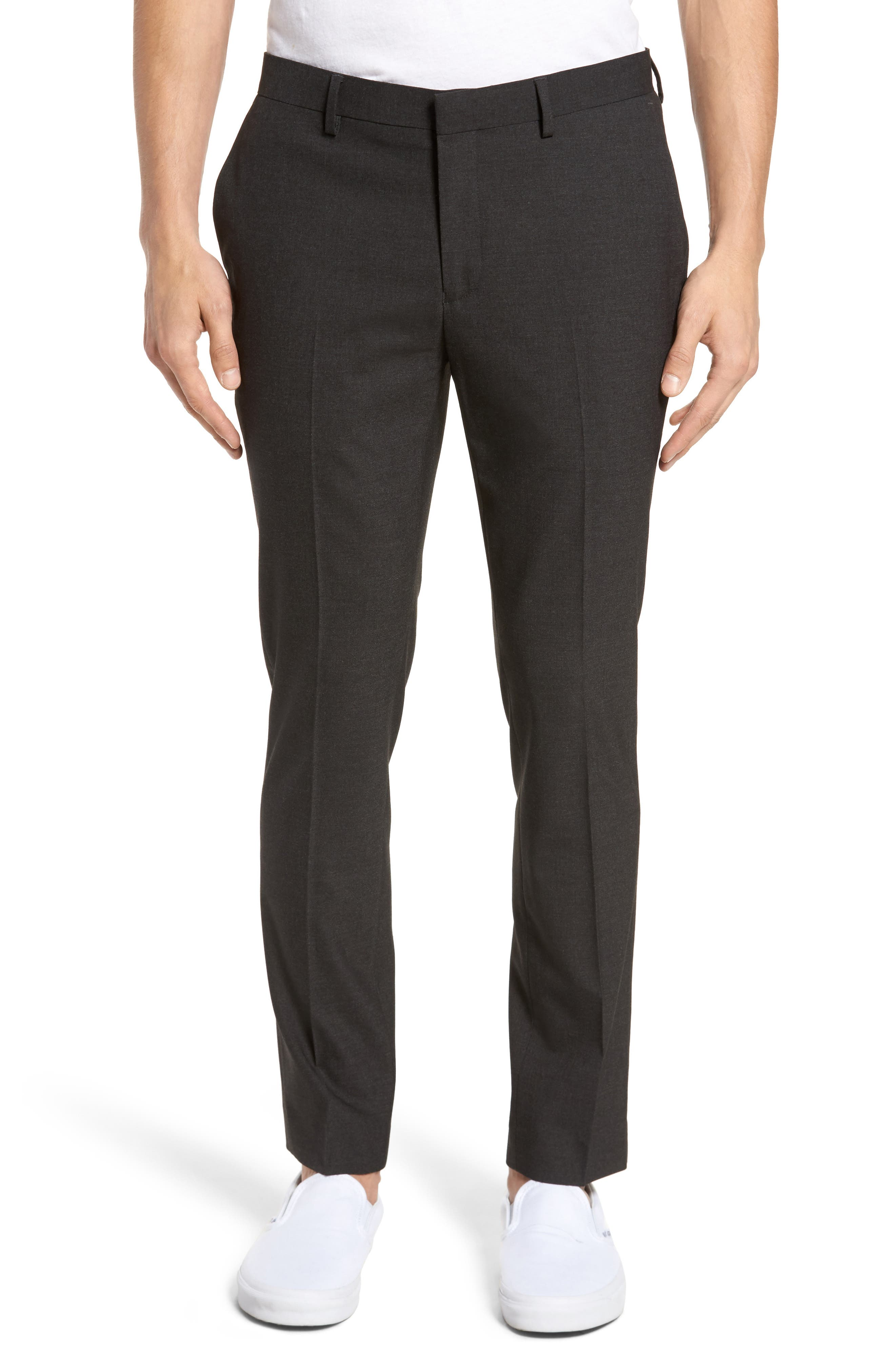 Black Skinny Fit Trousers,                             Main thumbnail 1, color,                             Charcoal