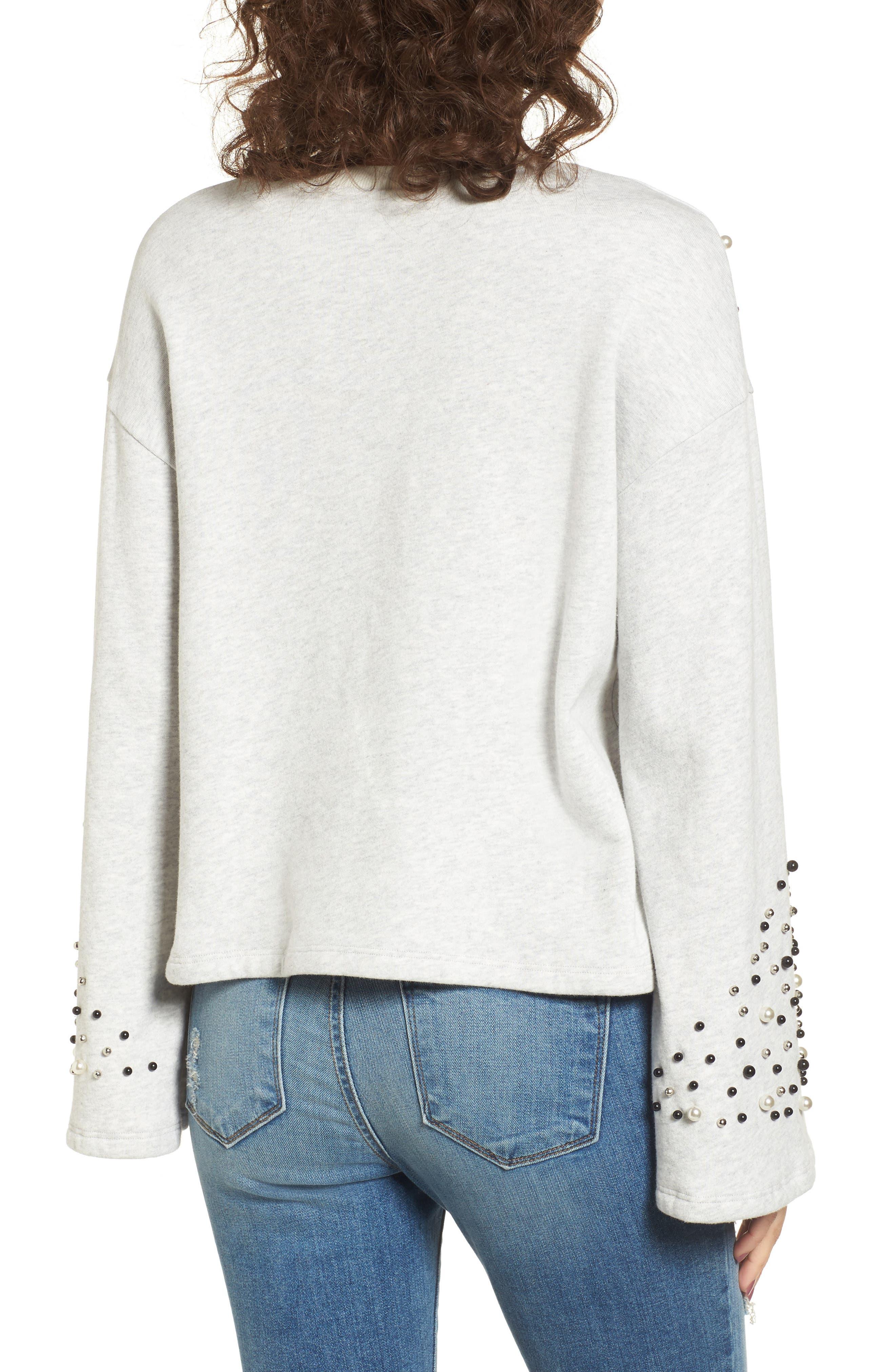 Embellished Bell Sleeve Sweatshirt,                             Alternate thumbnail 2, color,                             Grey Light Heather