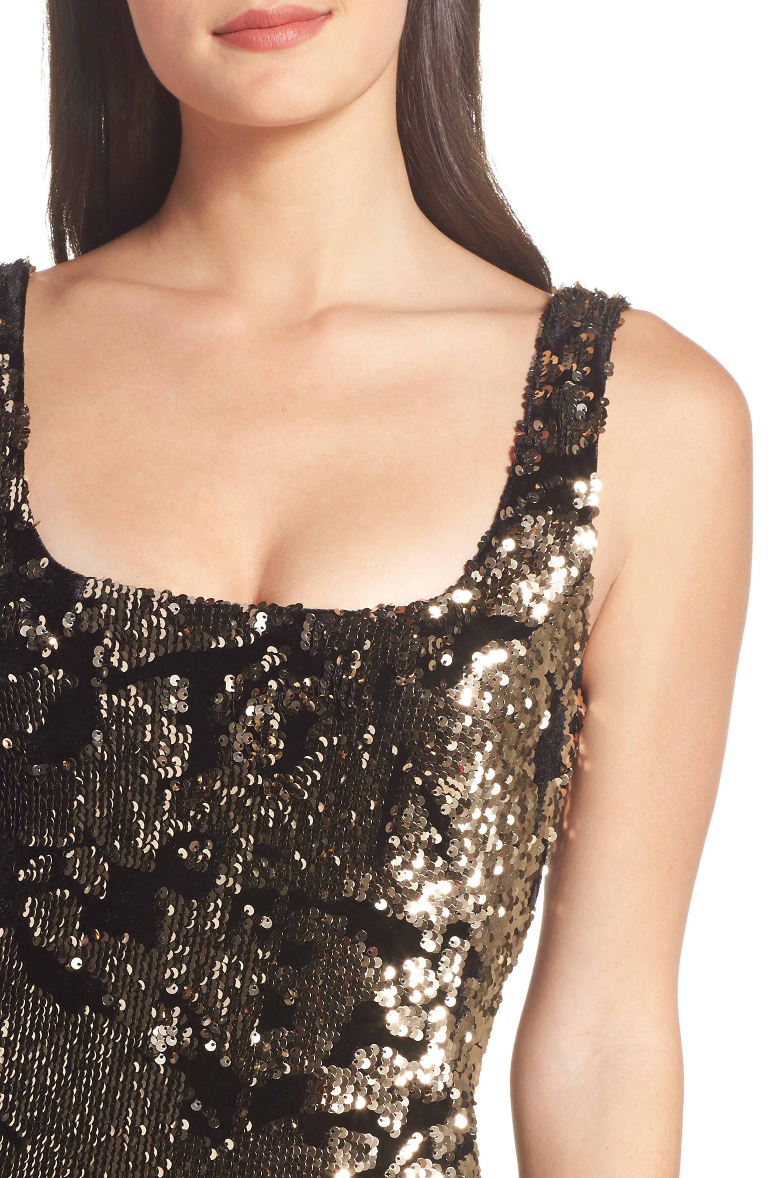Alternate Image 4  - Bardot Sequin Velvet Body-Con Dress