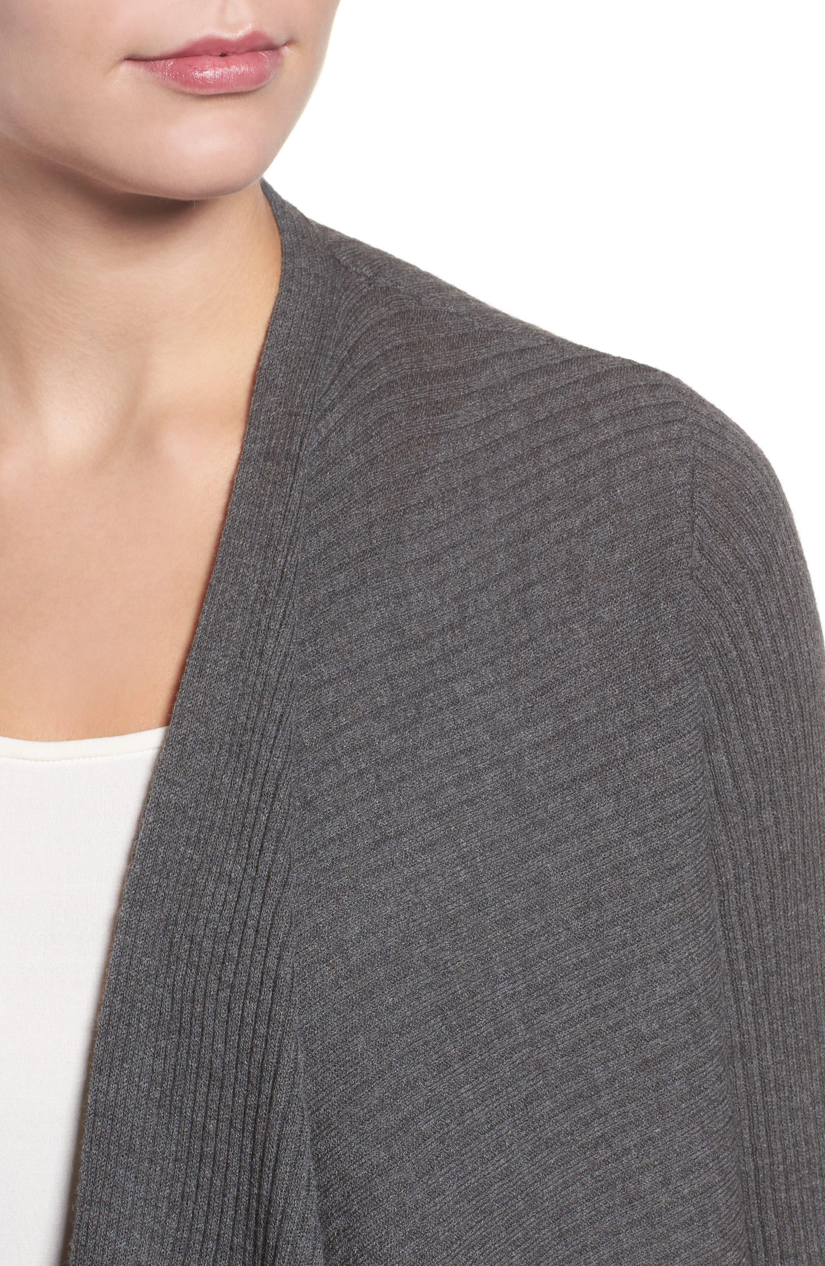 Drape Front Wool Cardigan,                             Alternate thumbnail 4, color,                             Bark