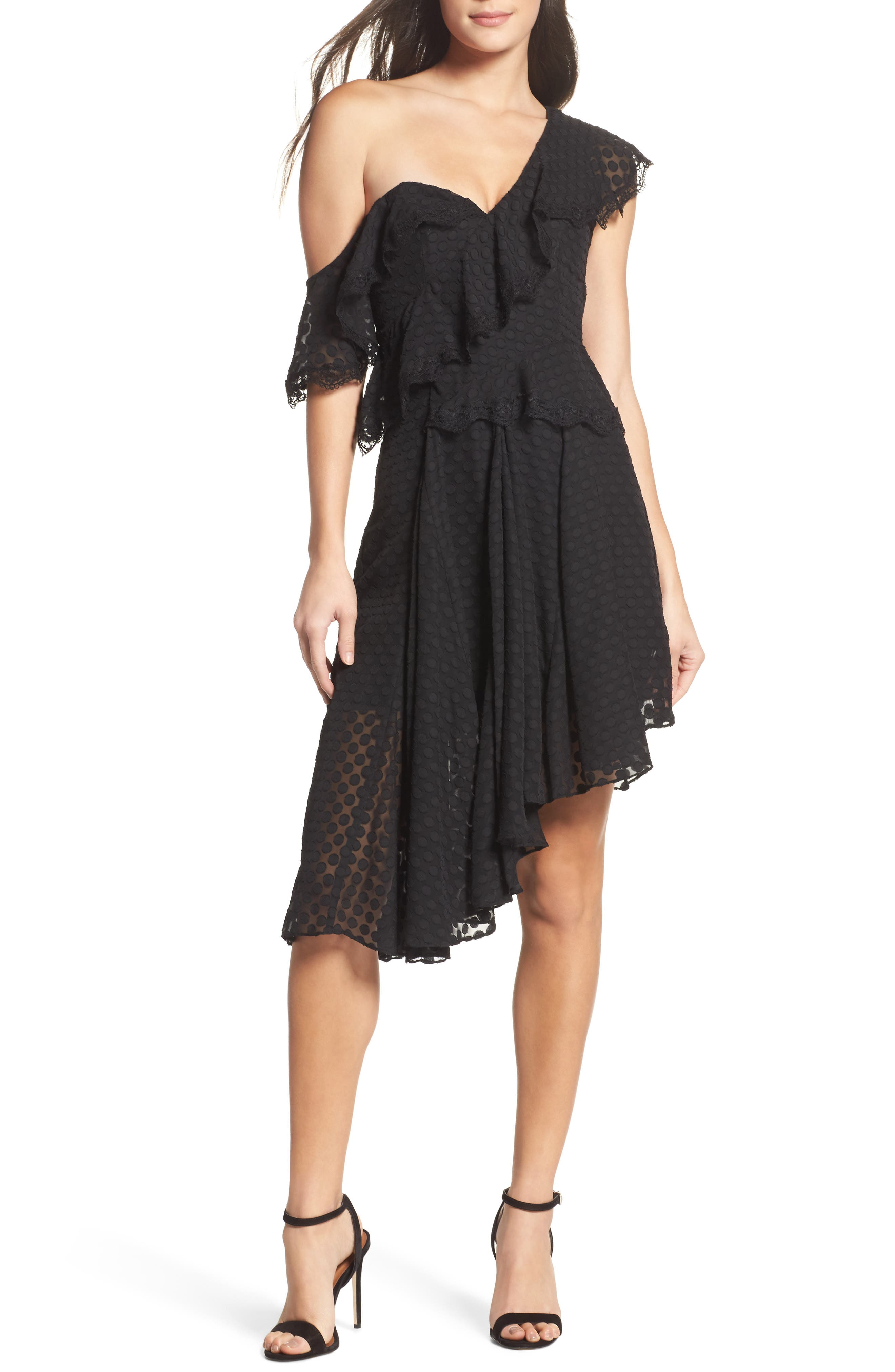 Señorita One-Shoulder Dot Chiffon Dress,                         Main,                         color, Black