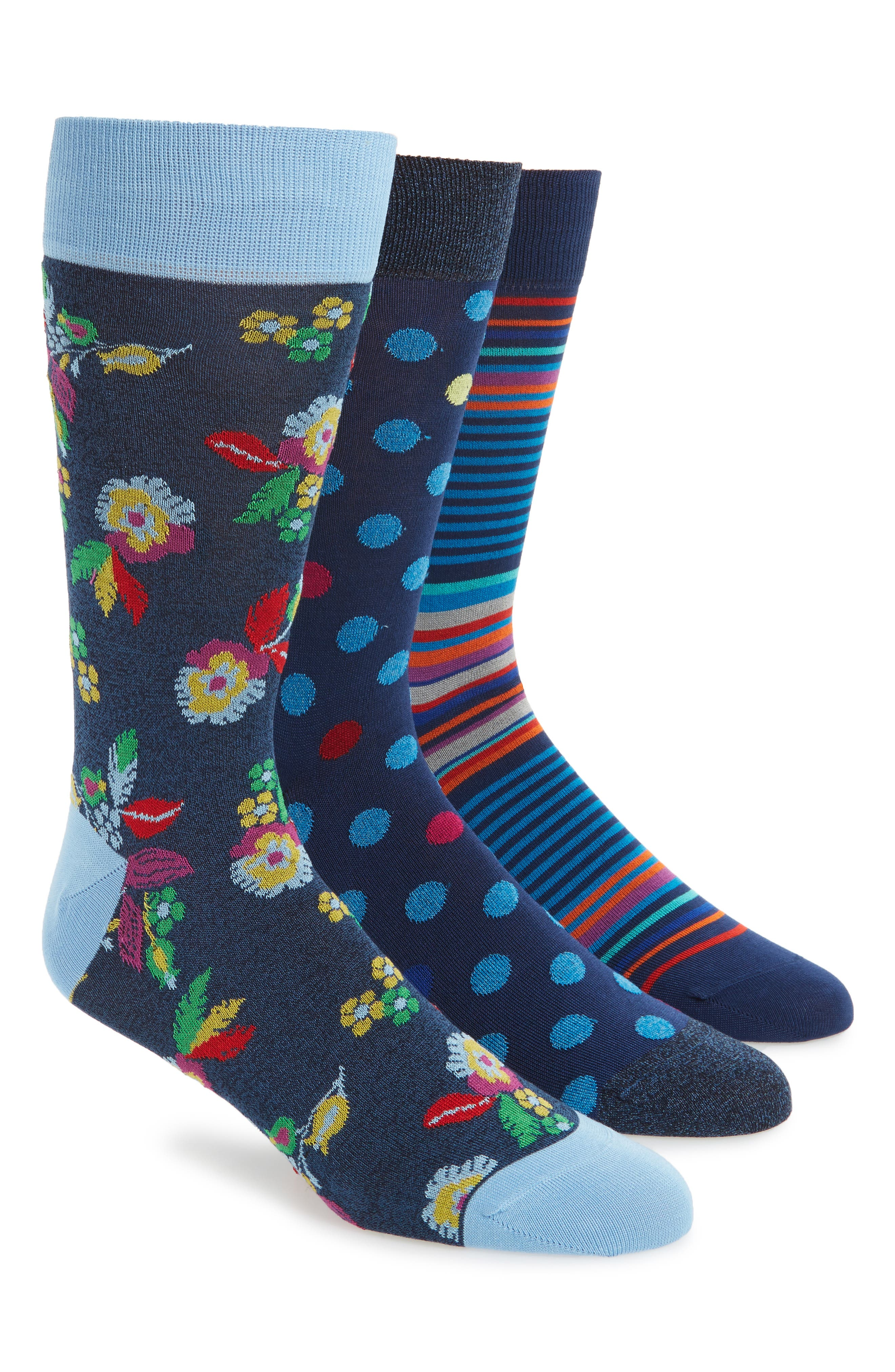 Alternate Image 1 Selected - Bugatchi 3-Pack Mixed Pattern Cotton & Cashmere Blend Socks ($59.85 Value)