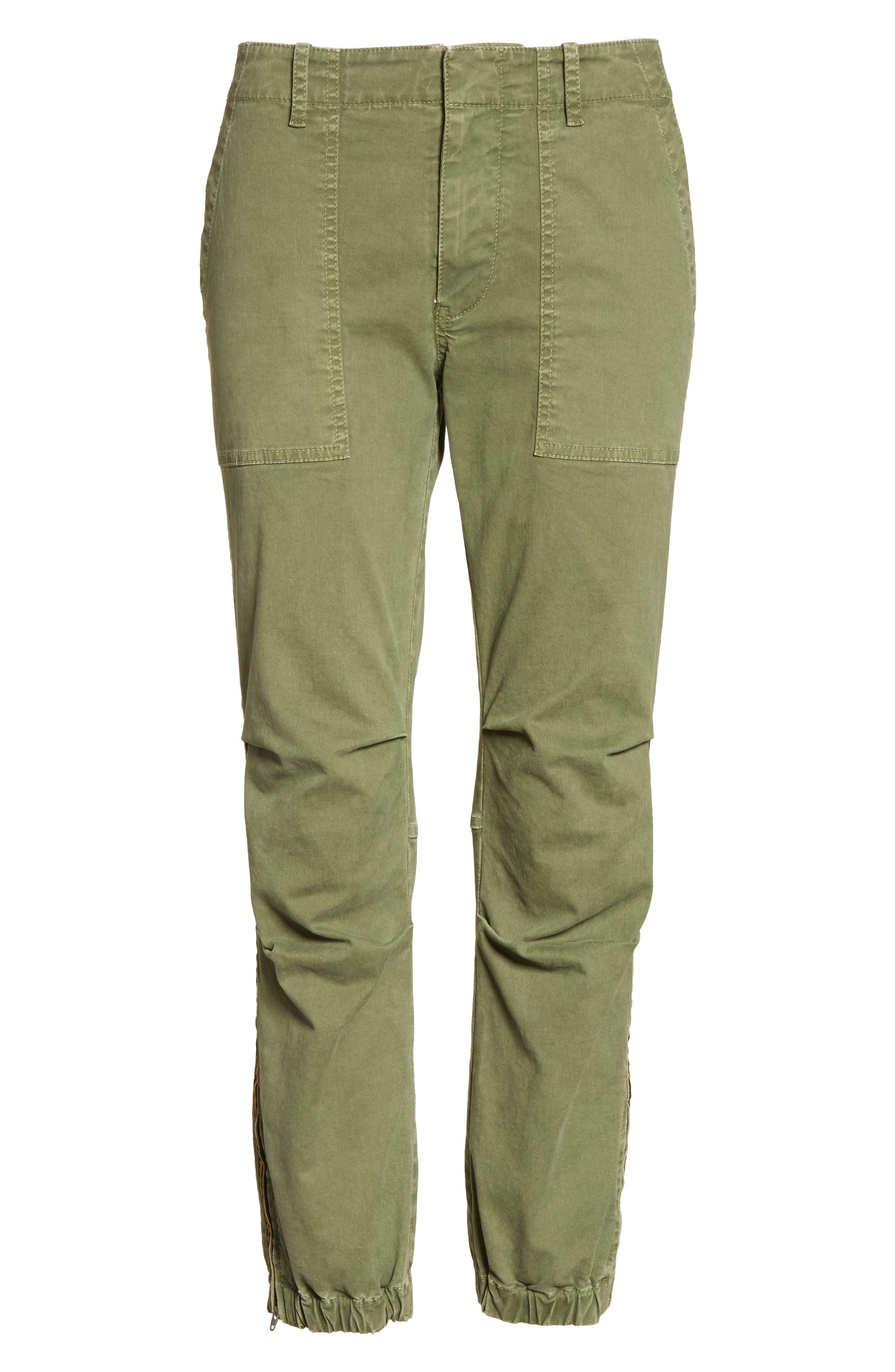 French Crop Military Pants,                             Alternate thumbnail 8, color,                             Camo