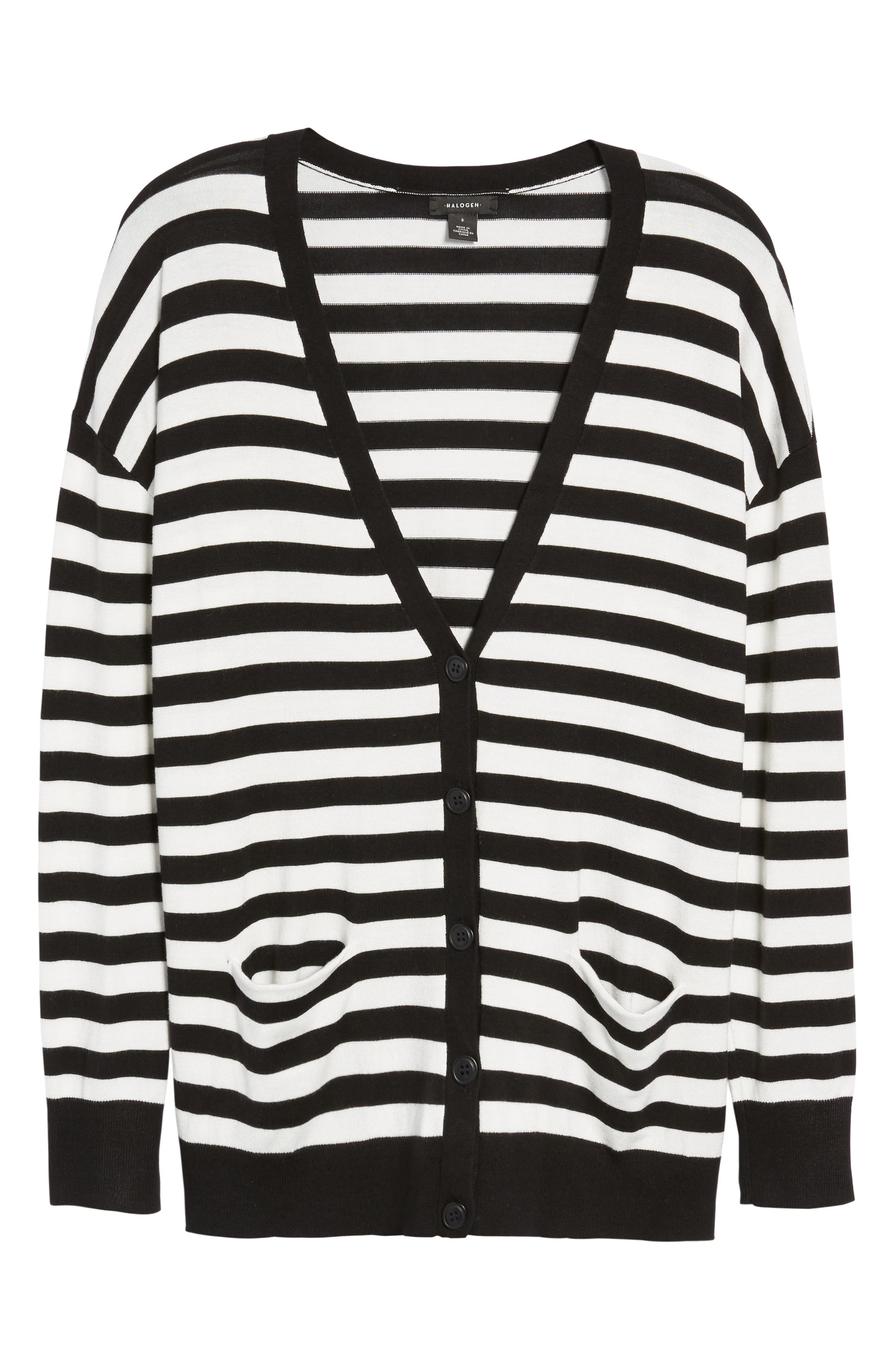 Relaxed Pocket Cardigan,                             Alternate thumbnail 7, color,                             Black- Ivory Stripe