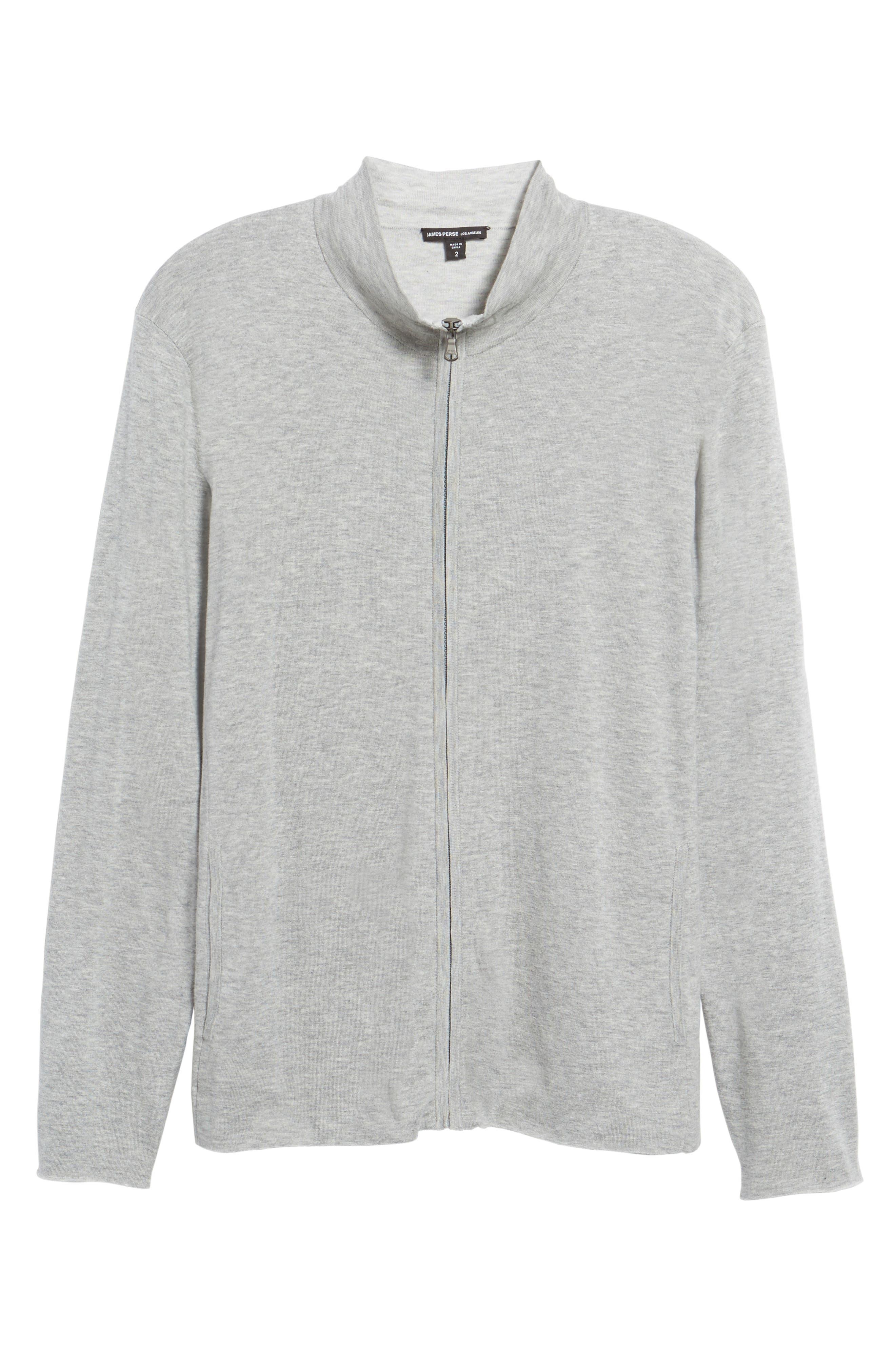 Mock Neck Zip Sweatshirt,                             Alternate thumbnail 6, color,                             Heather Grey/ Platinum