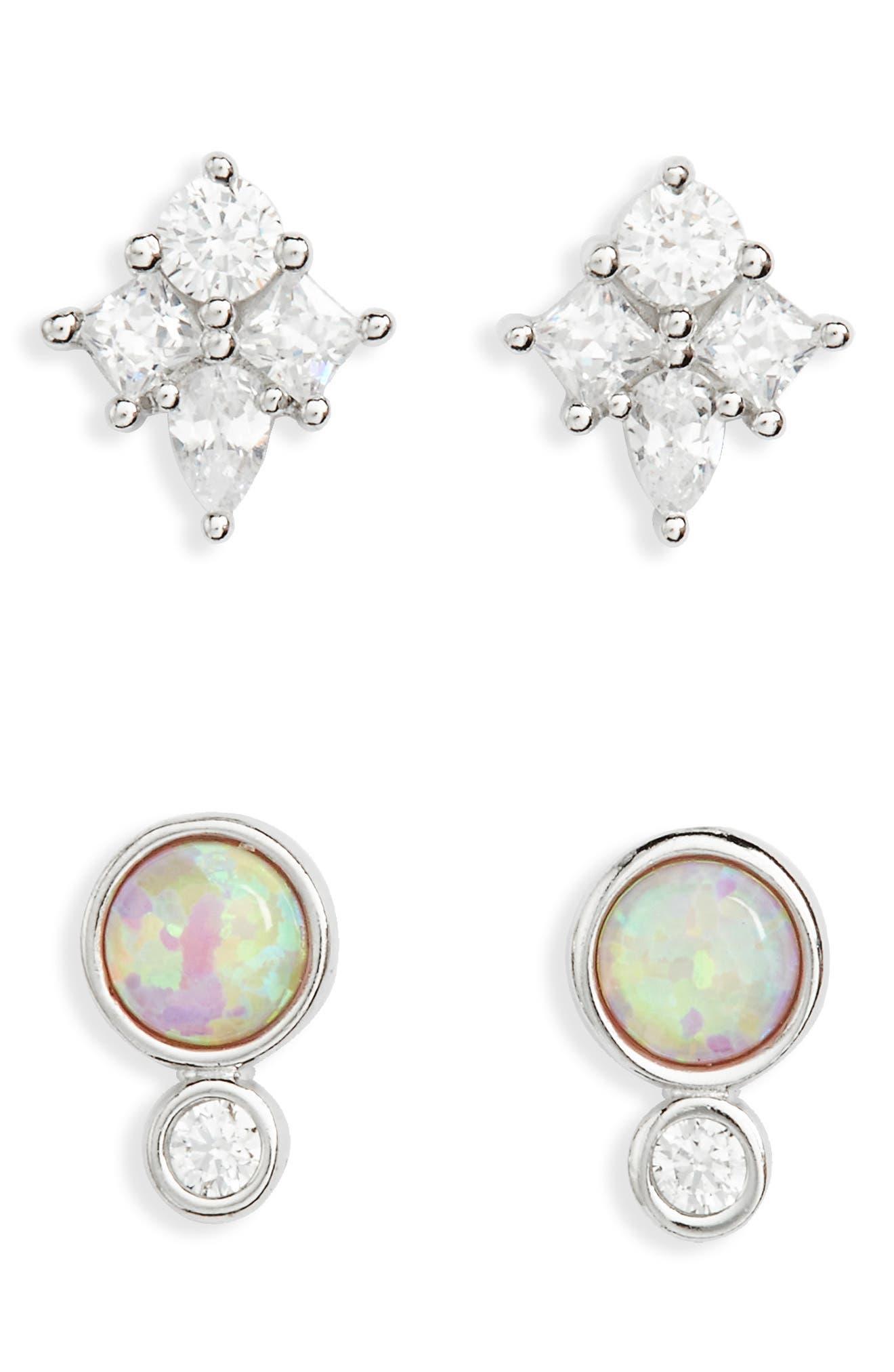 Set of 2 Opal & Cubic Zirconia Stud Earrings,                         Main,                         color, Platinum