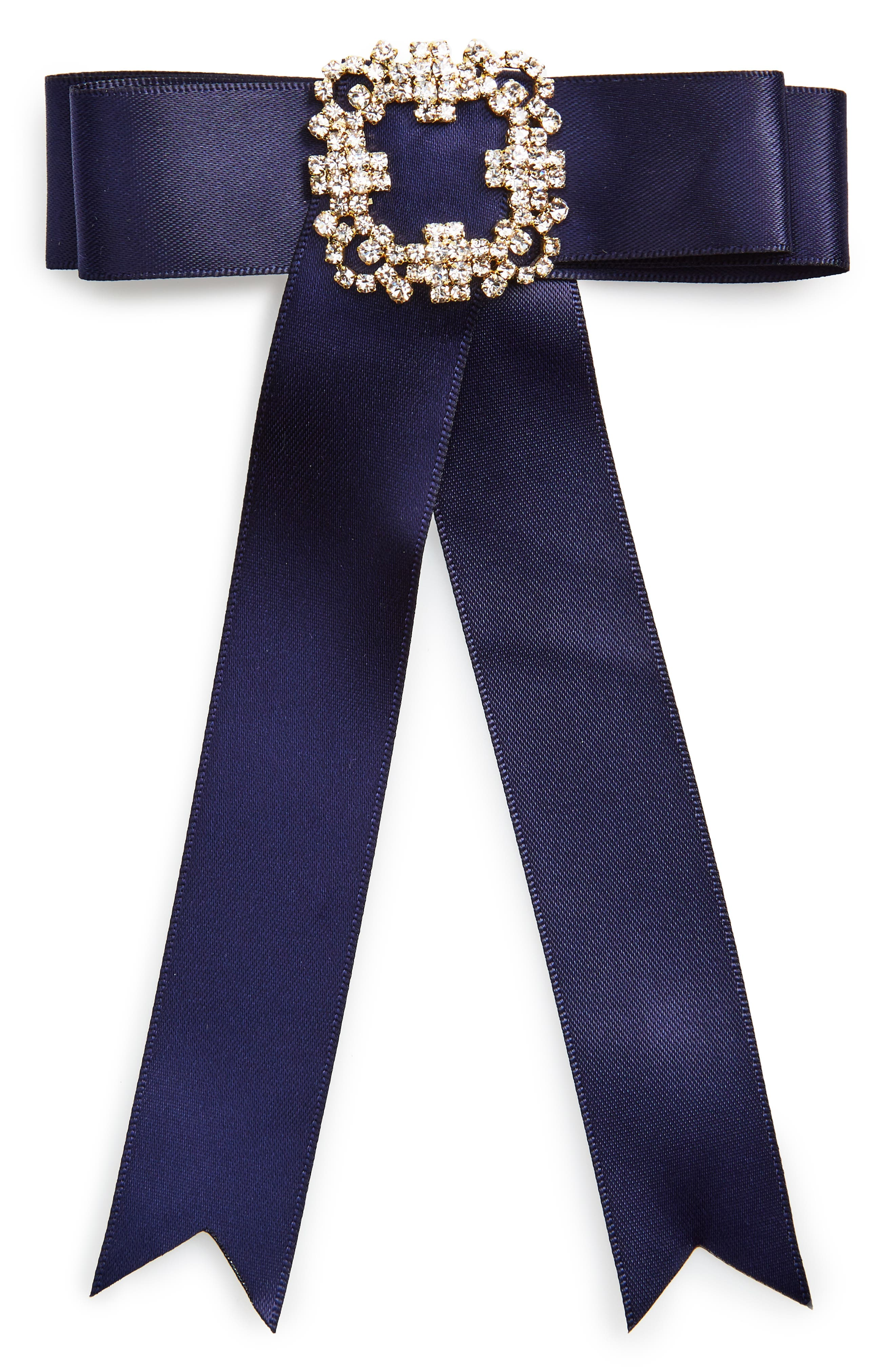 Cara Crystal Embellished Velvet Bow Pin