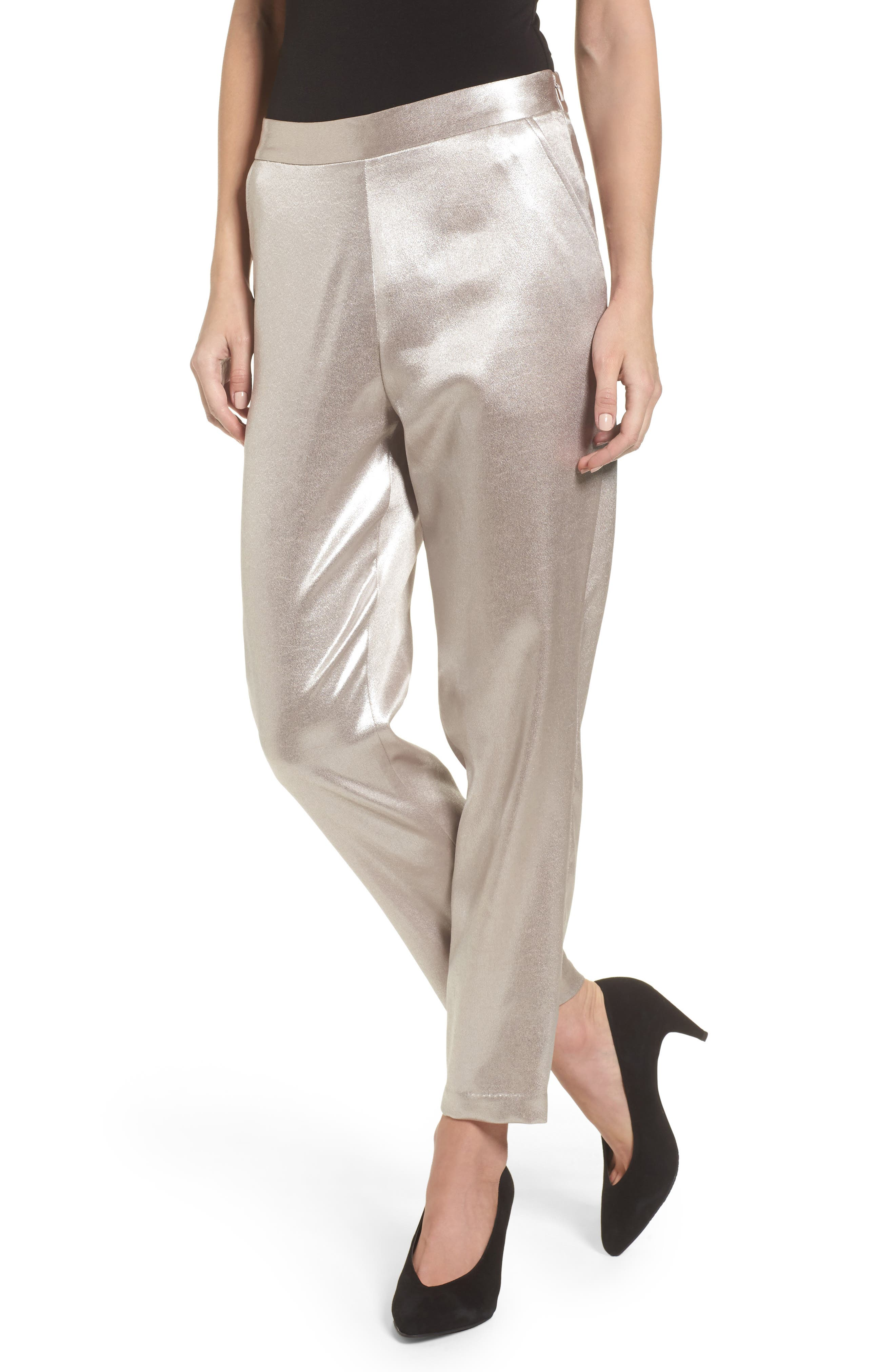 Satin High Waist Ankle Pants,                             Main thumbnail 1, color,                             Grey Chateau Metallic