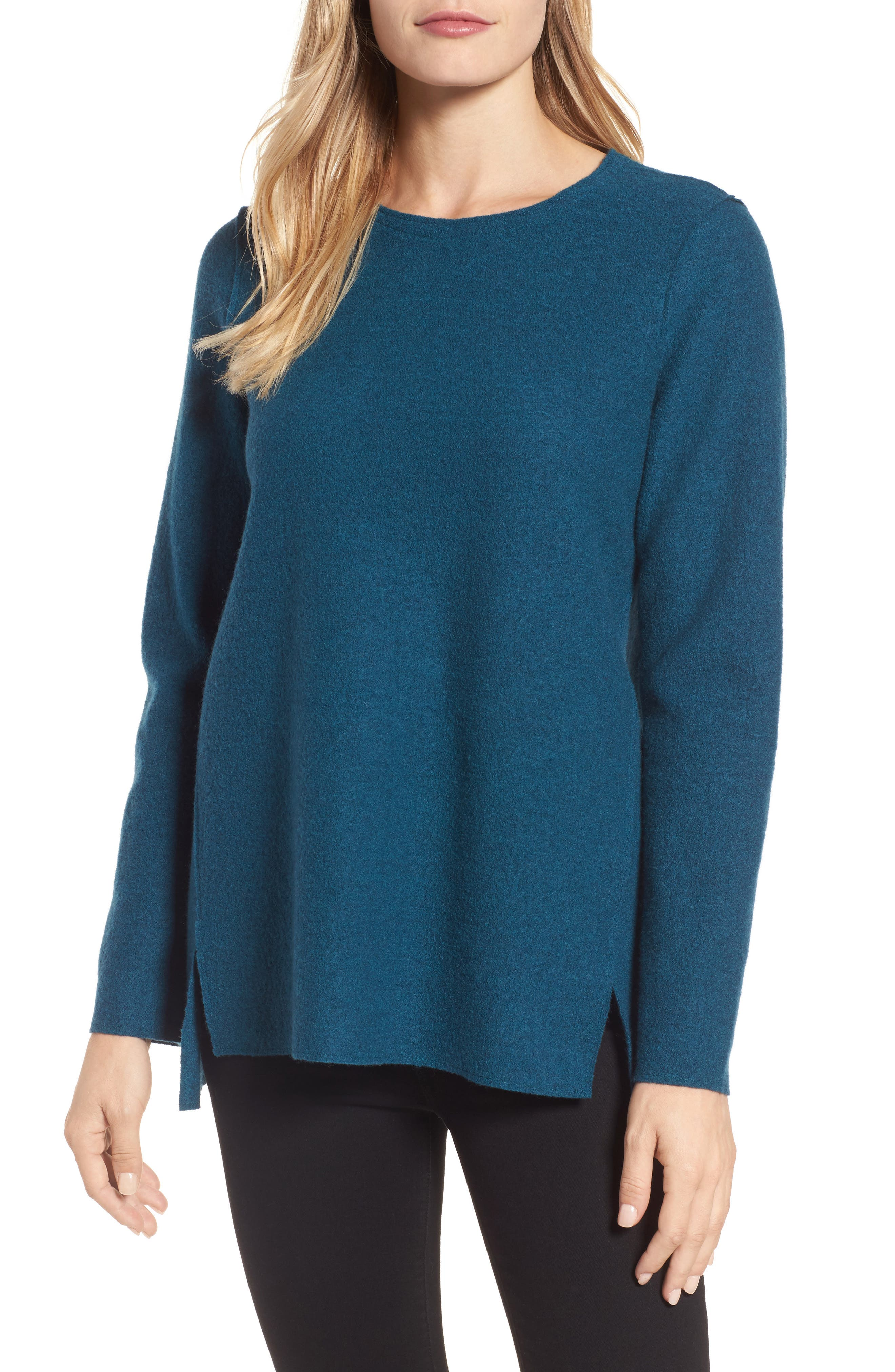 Boiled Merino Wool Top,                         Main,                         color, Blue Spruce