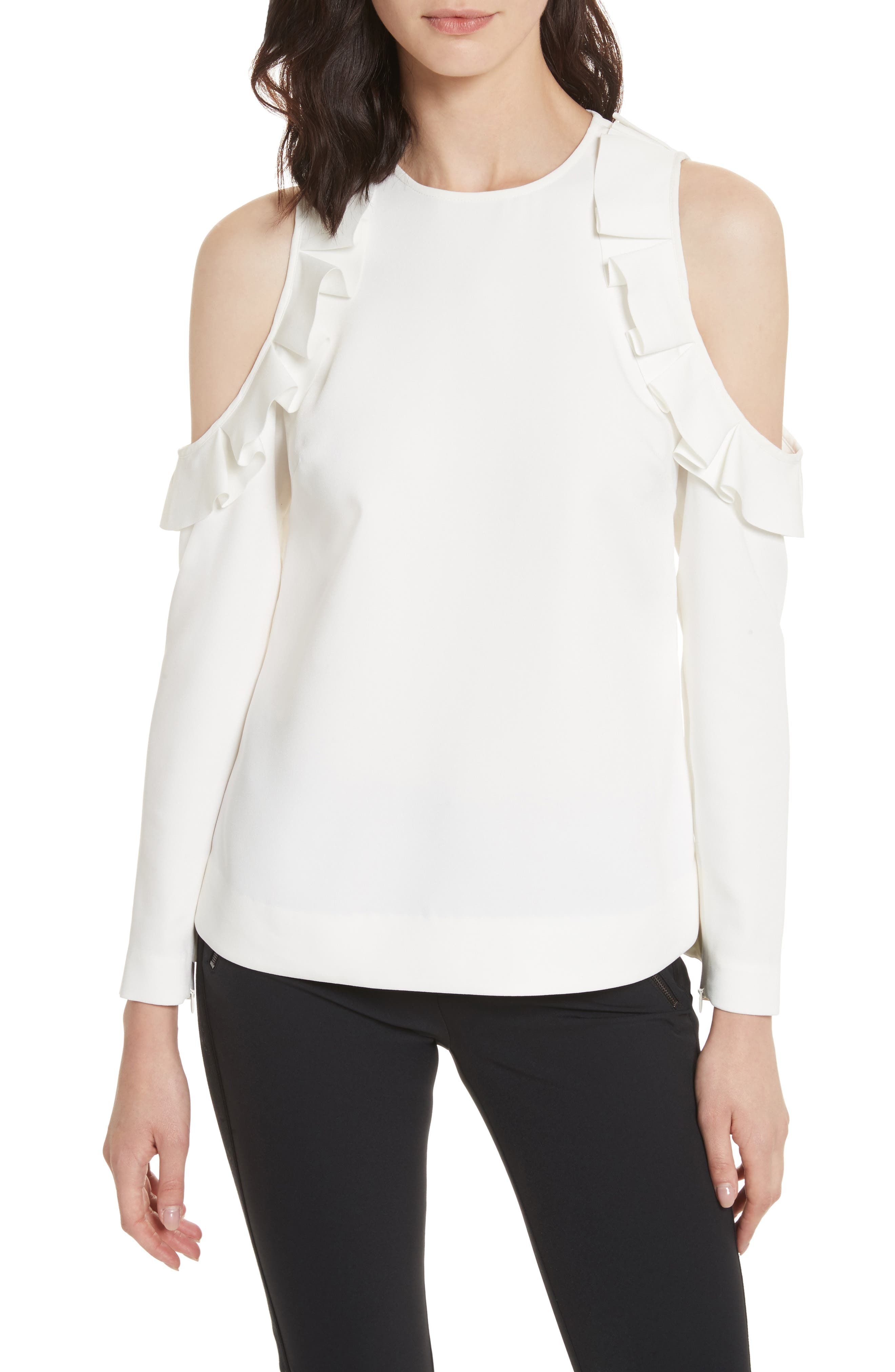 Frill Cold Shoulder Top,                         Main,                         color, Ivory
