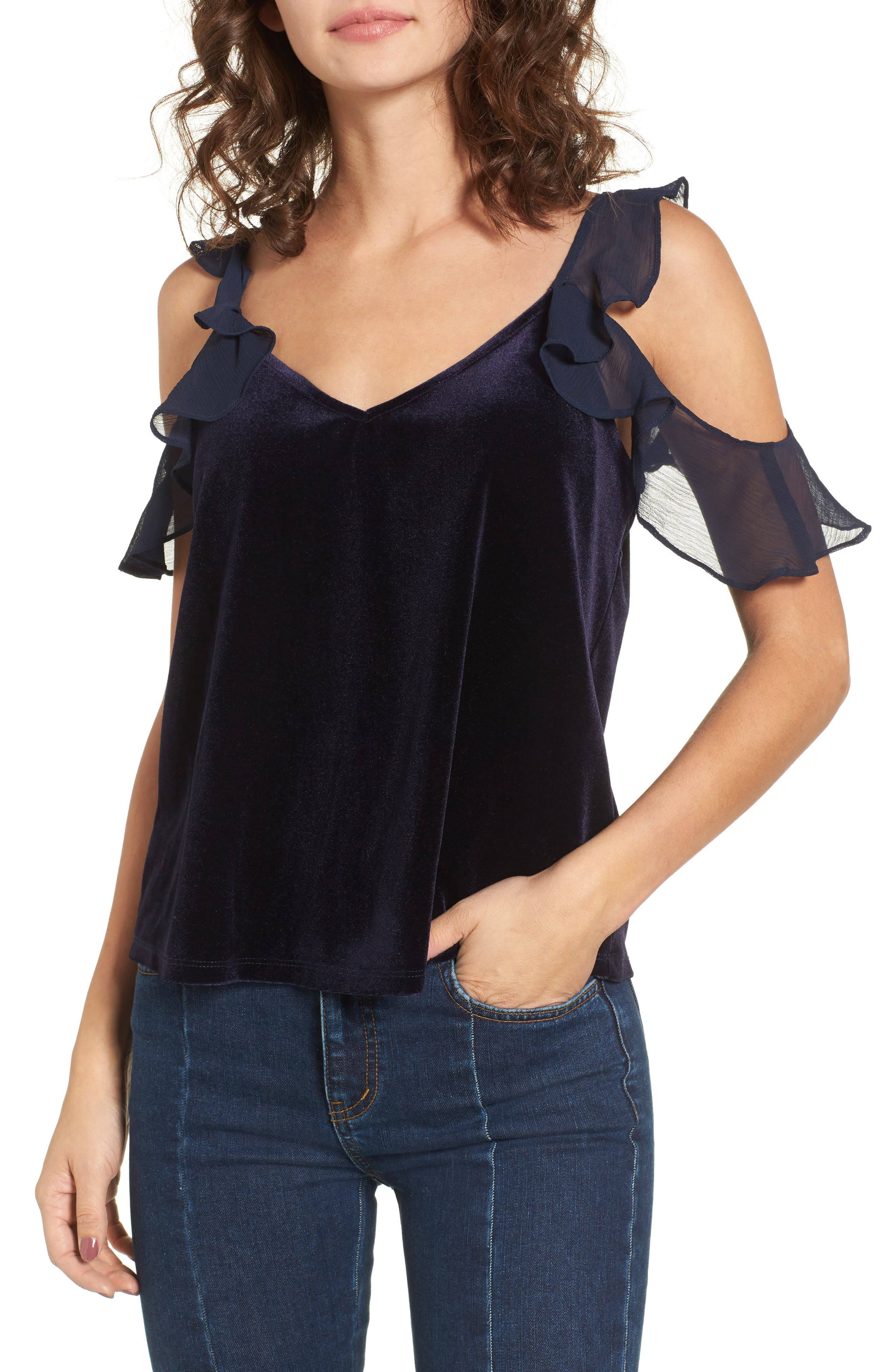 Ruffle Cold Shoulder Velvet Top,                         Main,                         color, Navy