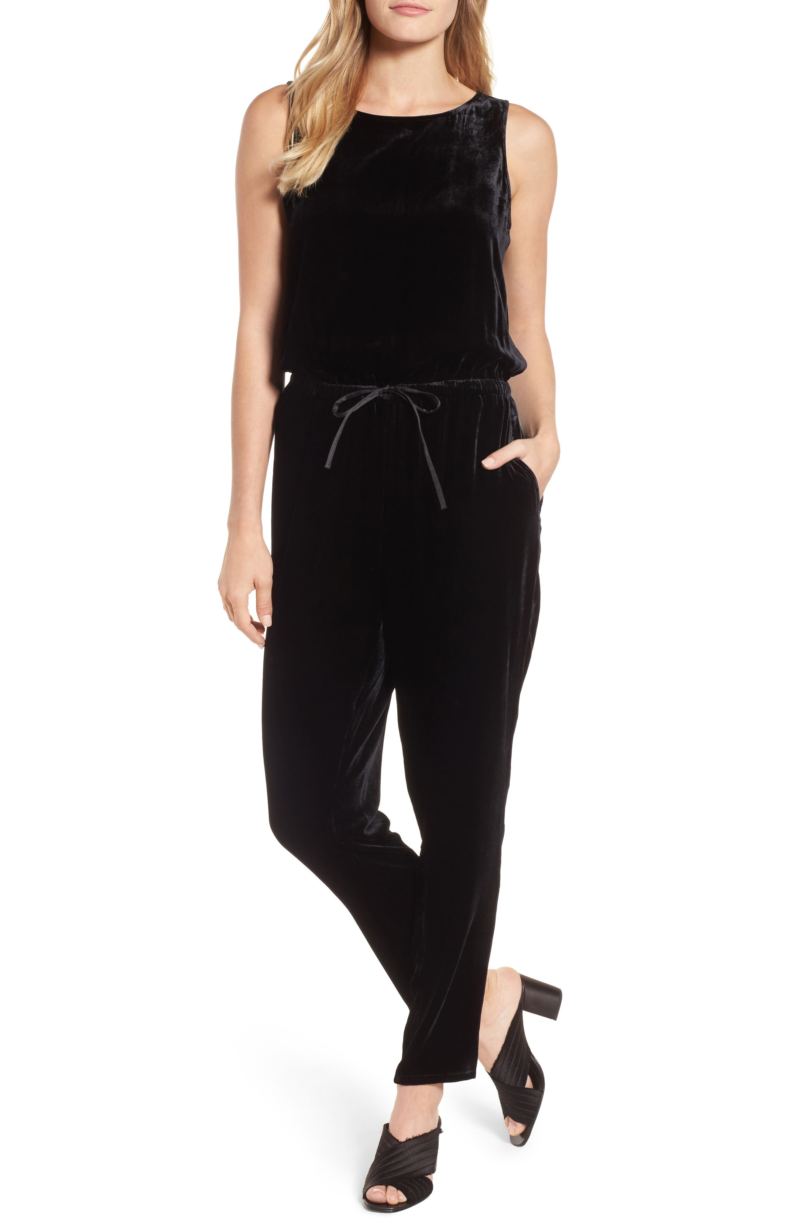 Alternate Image 1 Selected - Eileen Fisher Slouchy Velvet Jumpsuit (Regular & Petite)
