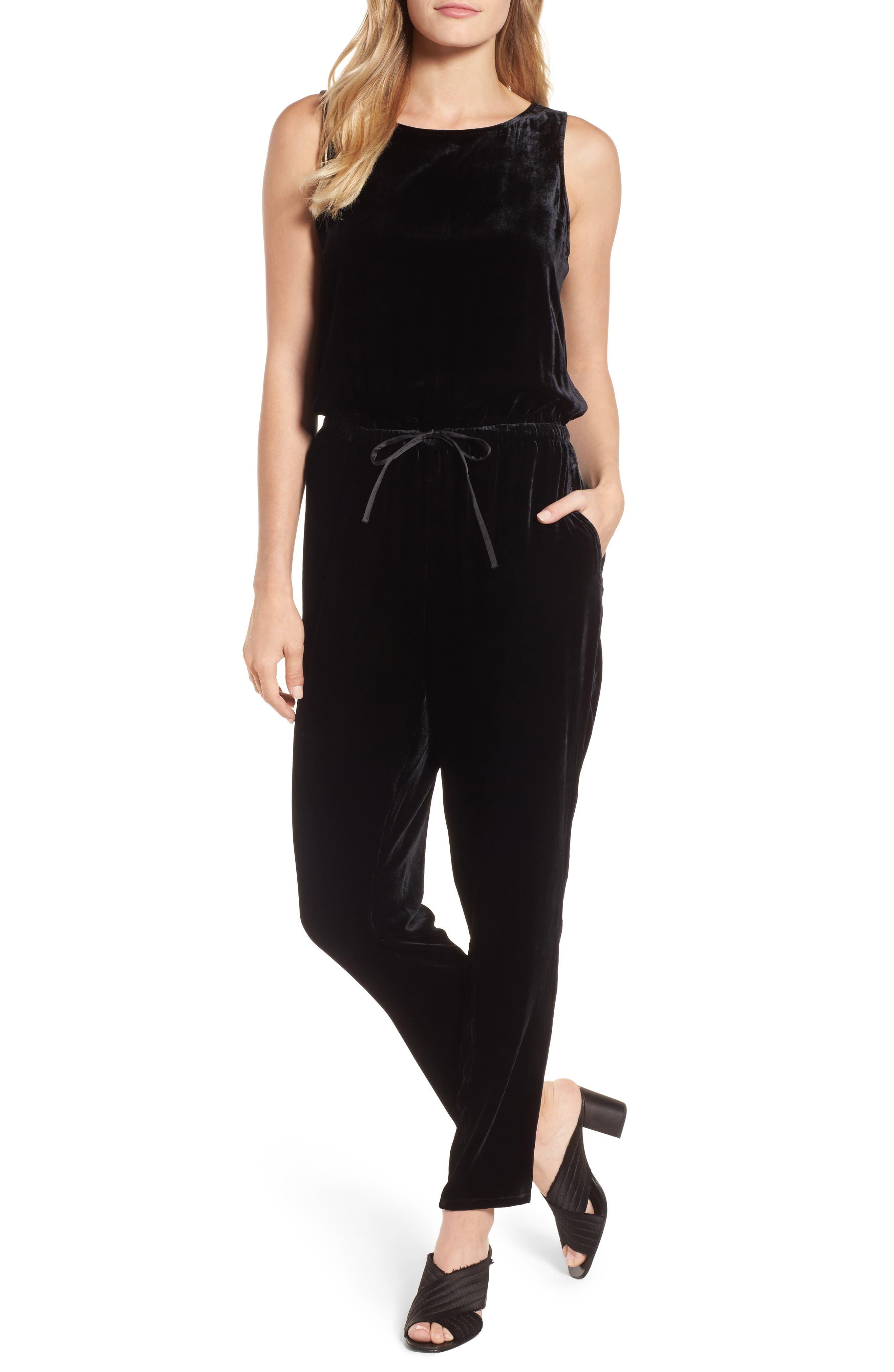 Slouchy Velvet Jumpsuit,                         Main,                         color, Black