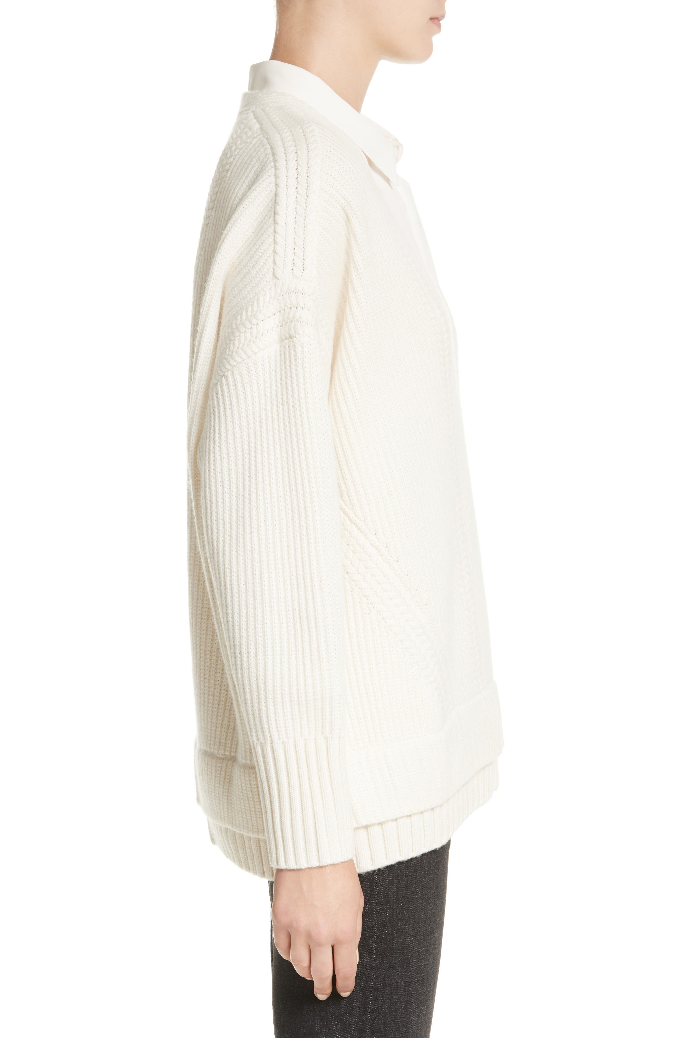 Santerno Wool & Cashmere Cable Knit Sweater,                             Alternate thumbnail 3, color,                             Natural White