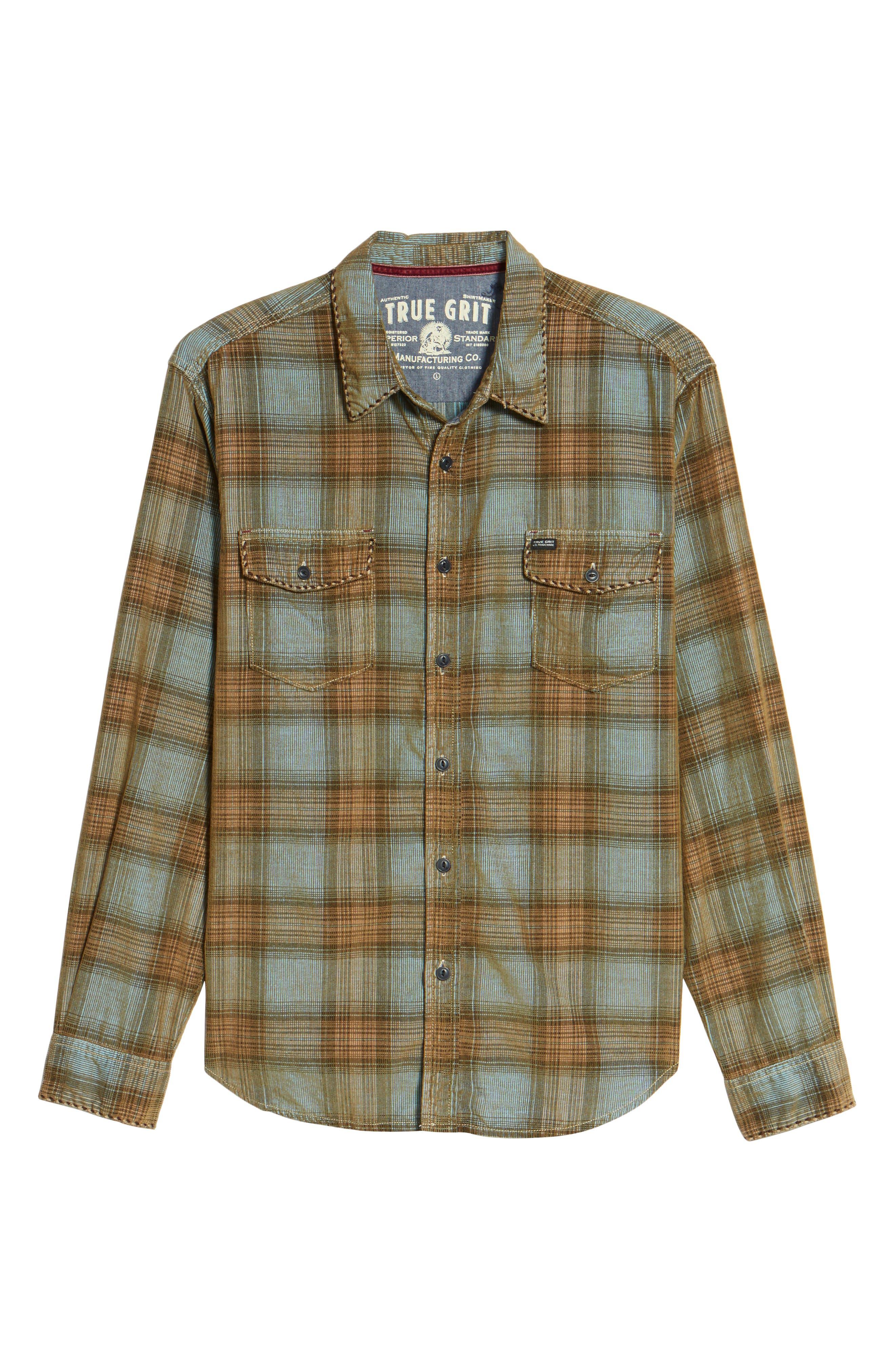 Alternate Image 6  - True Grit Ventura Vintage Slim Fit Plaid Corduroy Shirt