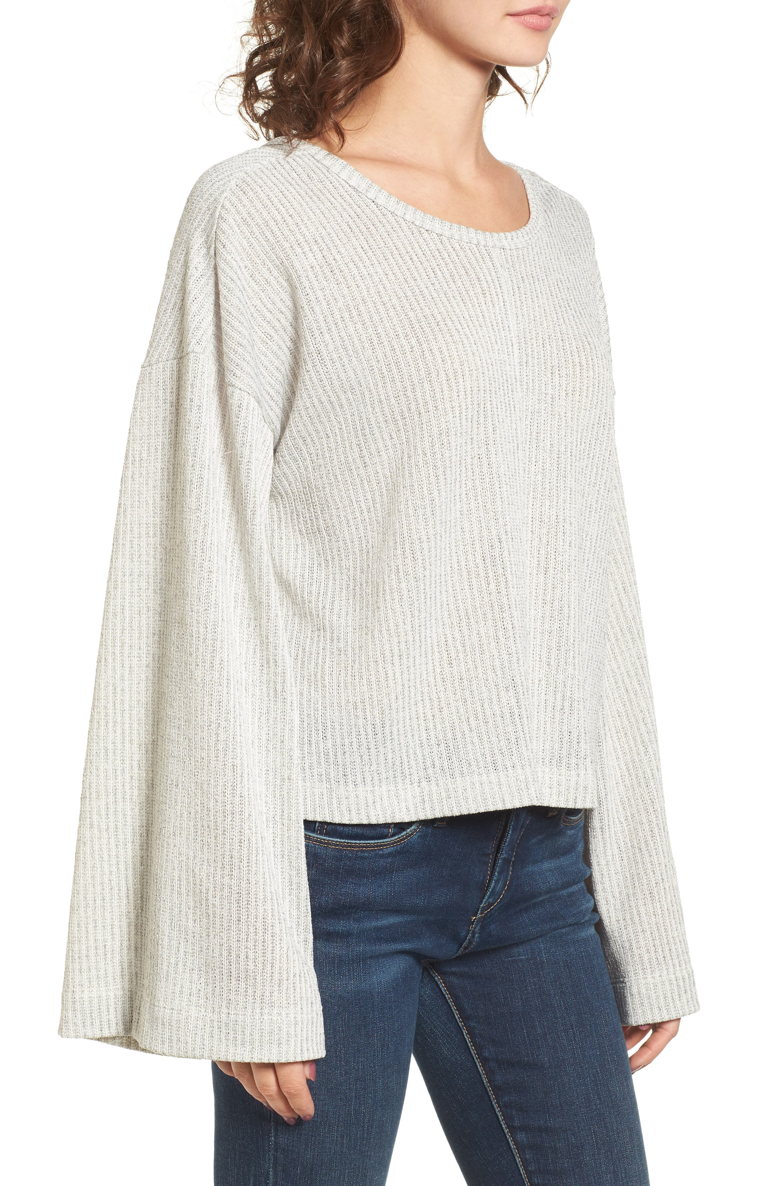 Tie Back Sweater,                             Alternate thumbnail 3, color,                             Grey