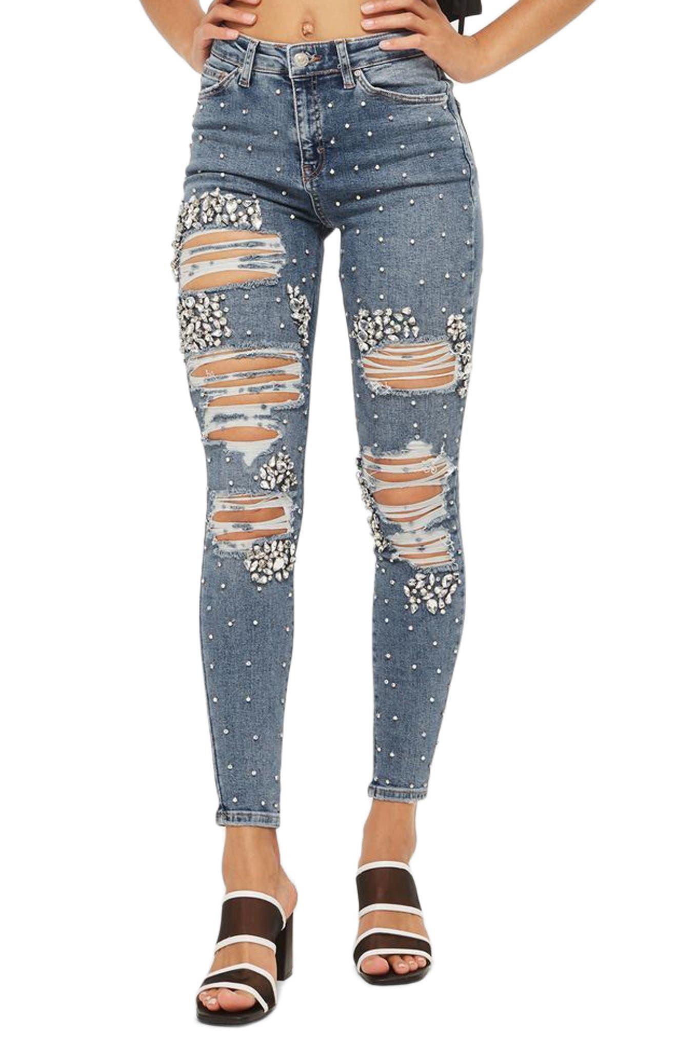 Main Image - Topshop Limited Edition Jamie Gem Encrusted Skinny Jeans