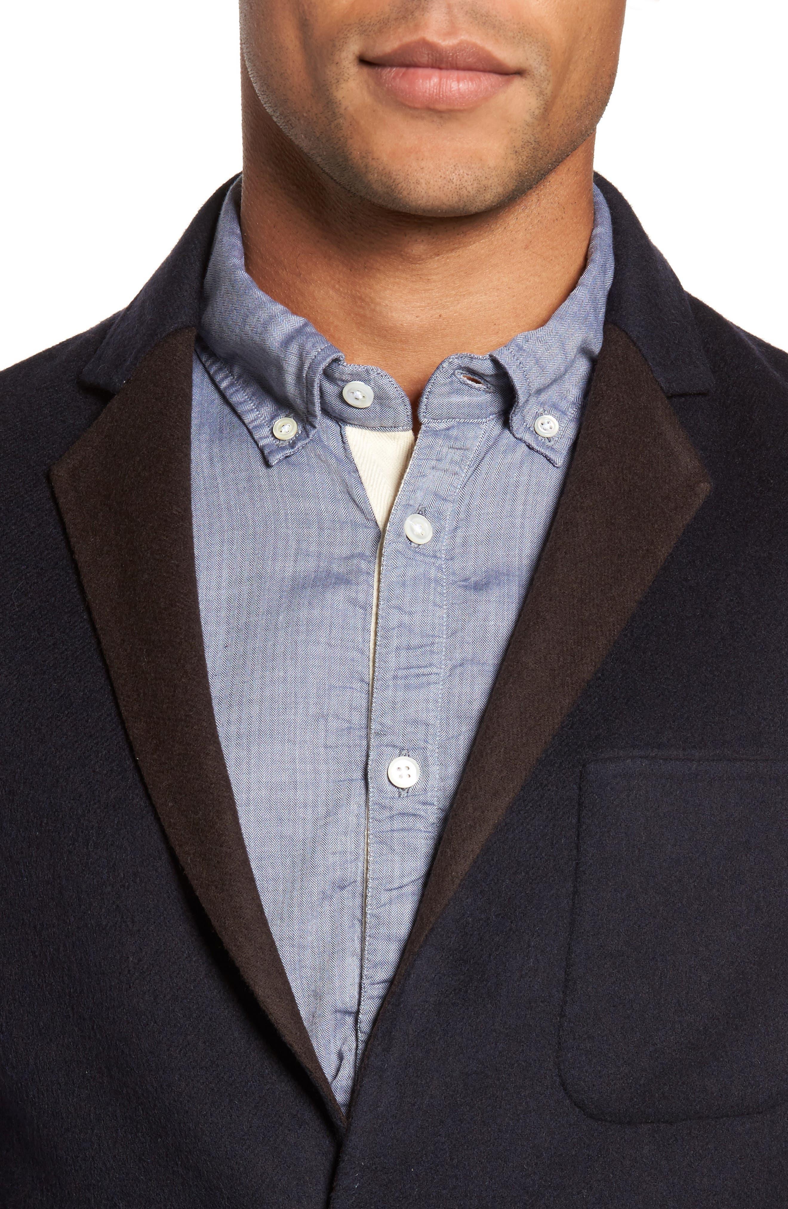 Archie Double-Face Wool Sport Coat,                             Alternate thumbnail 4, color,                             Navy
