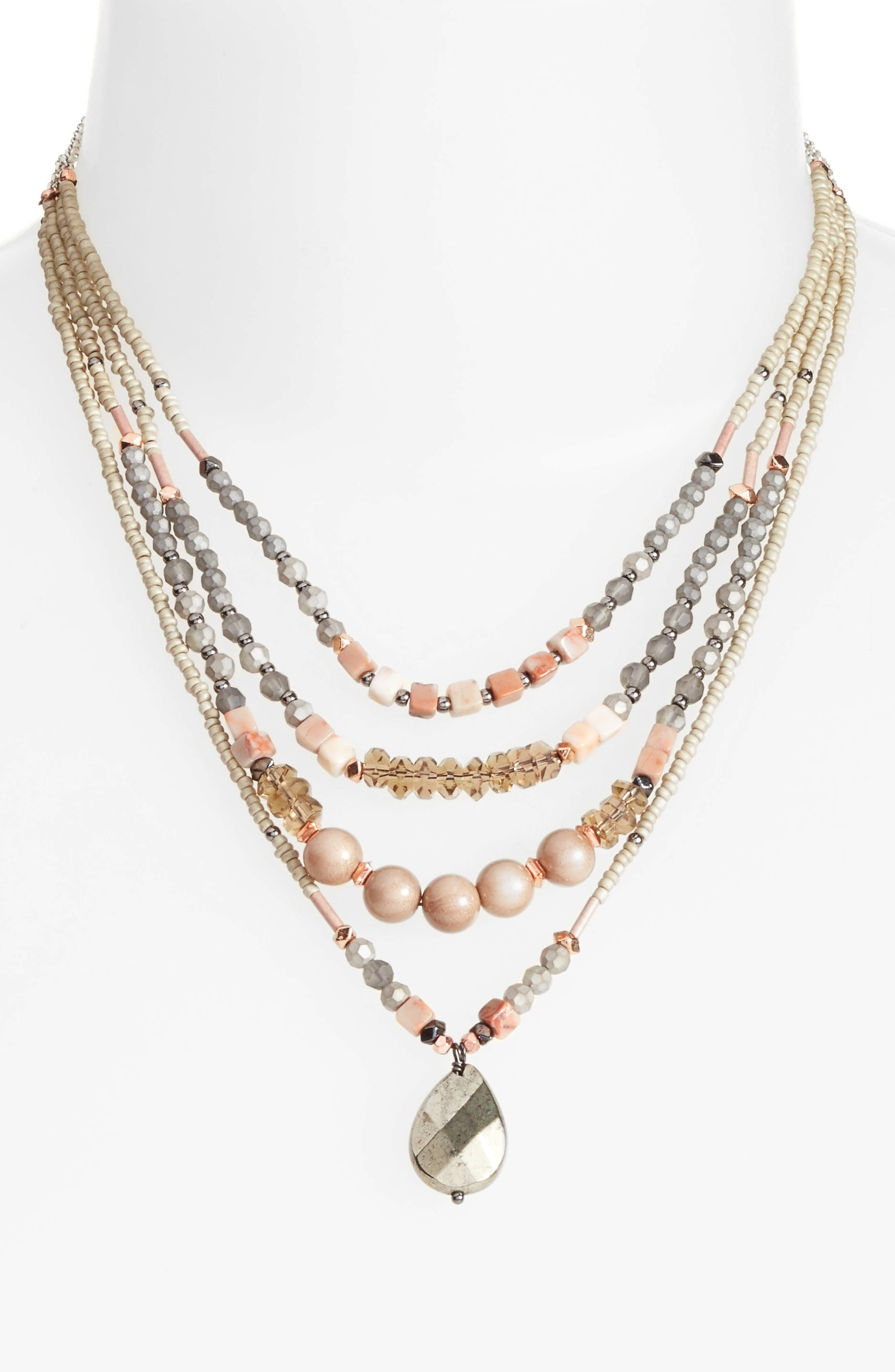 Multistrand Necklace,                         Main,                         color, Nude