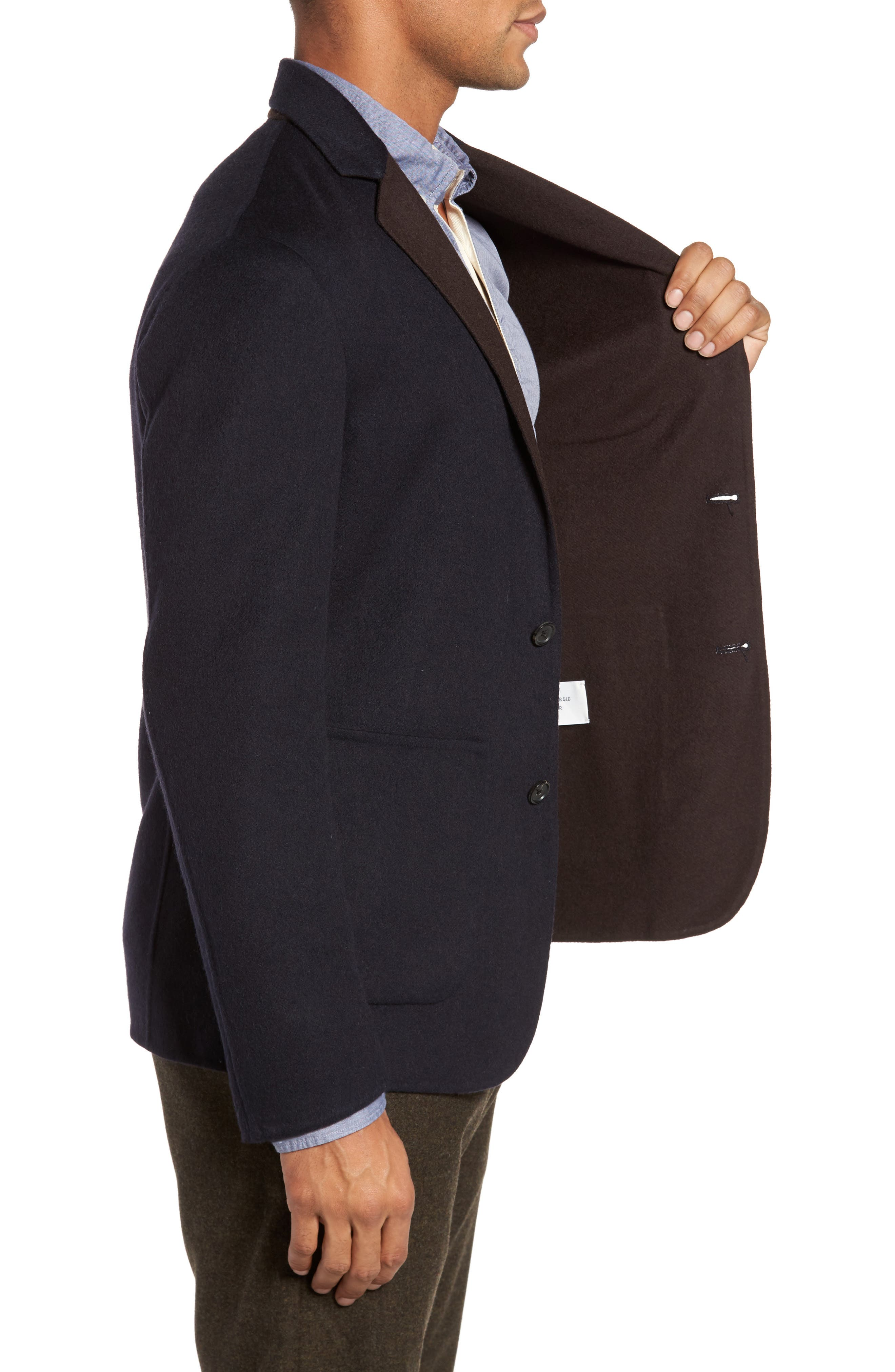 Archie Double-Face Wool Sport Coat,                             Alternate thumbnail 3, color,                             Navy
