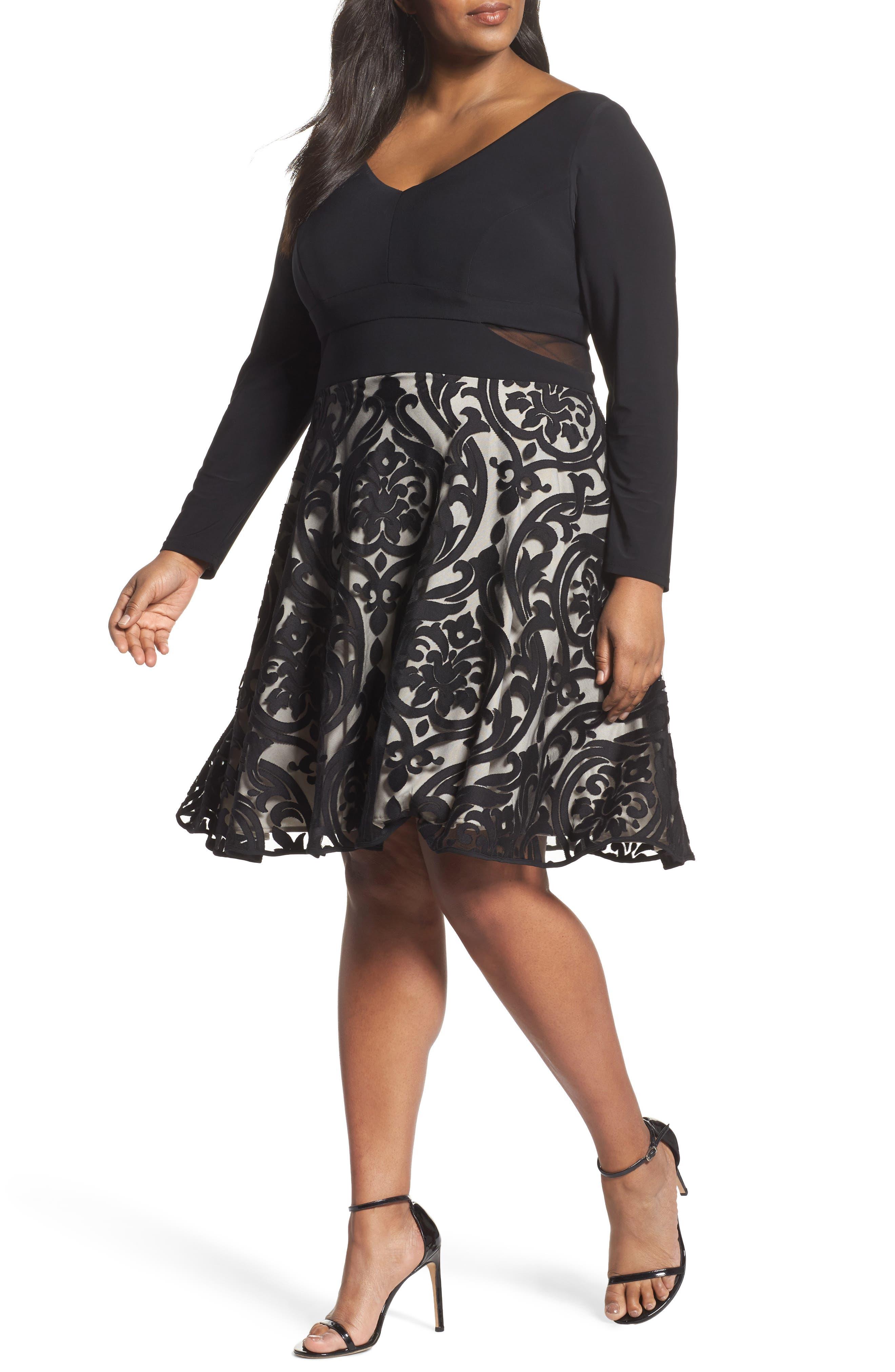 Mesh Waist Burnout Fit & Flare Dress,                         Main,                         color, Black/ Stone