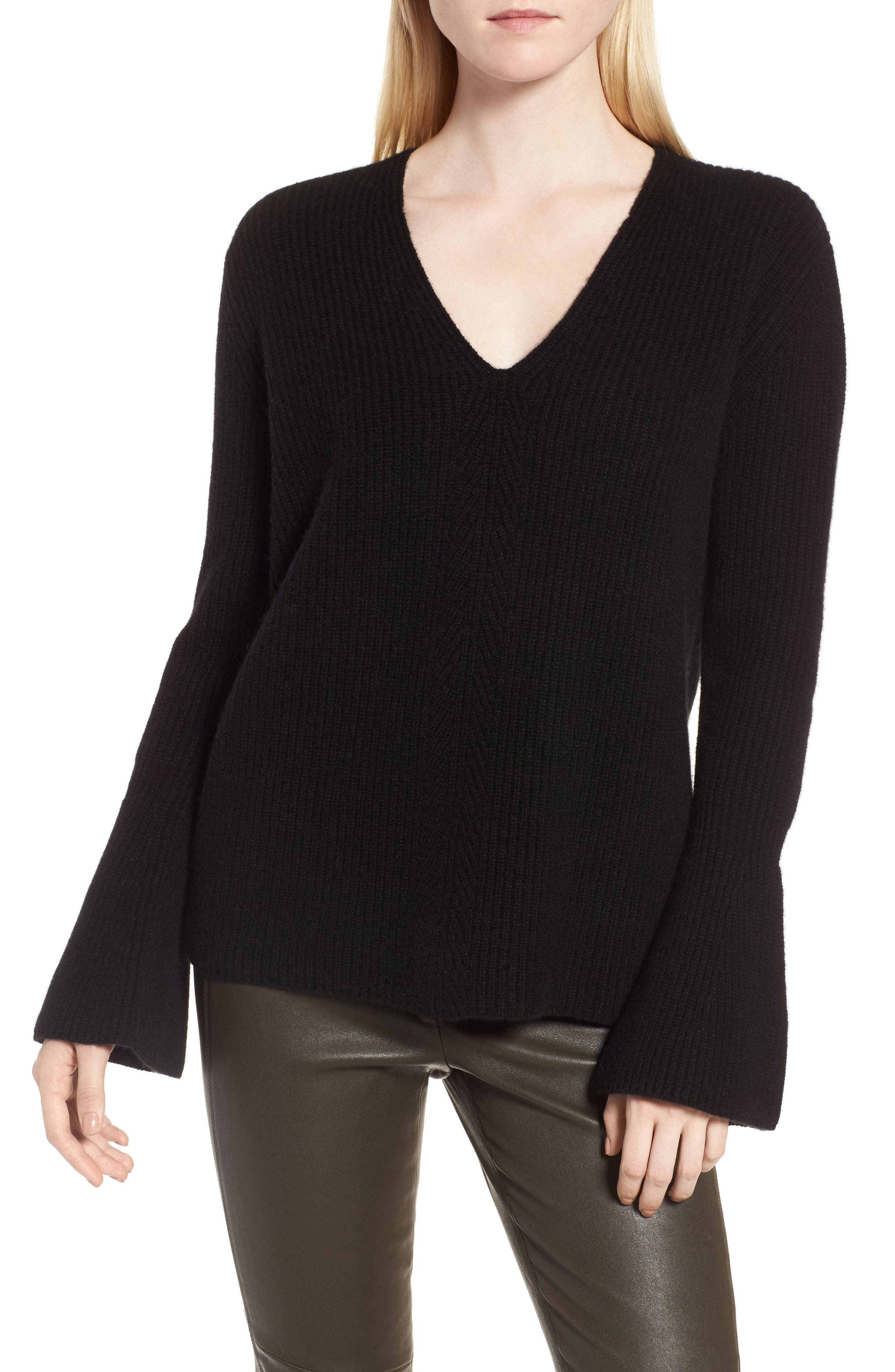 Rib Knit Cashmere Bell Sleeve Sweater,                             Main thumbnail 1, color,                             Black