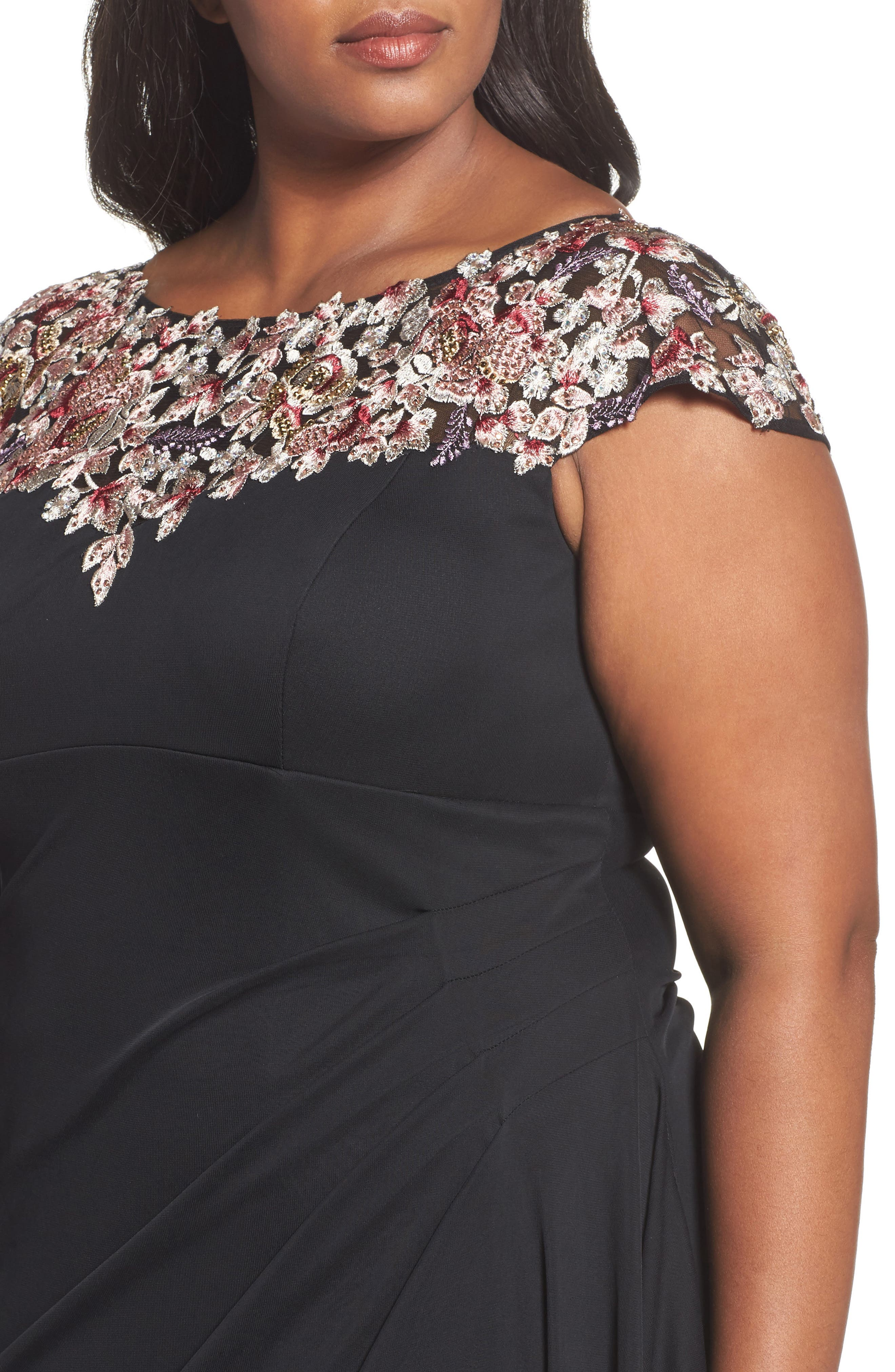 Embroidered Side Ruched Dress,                             Alternate thumbnail 4, color,                             Black/ Multi