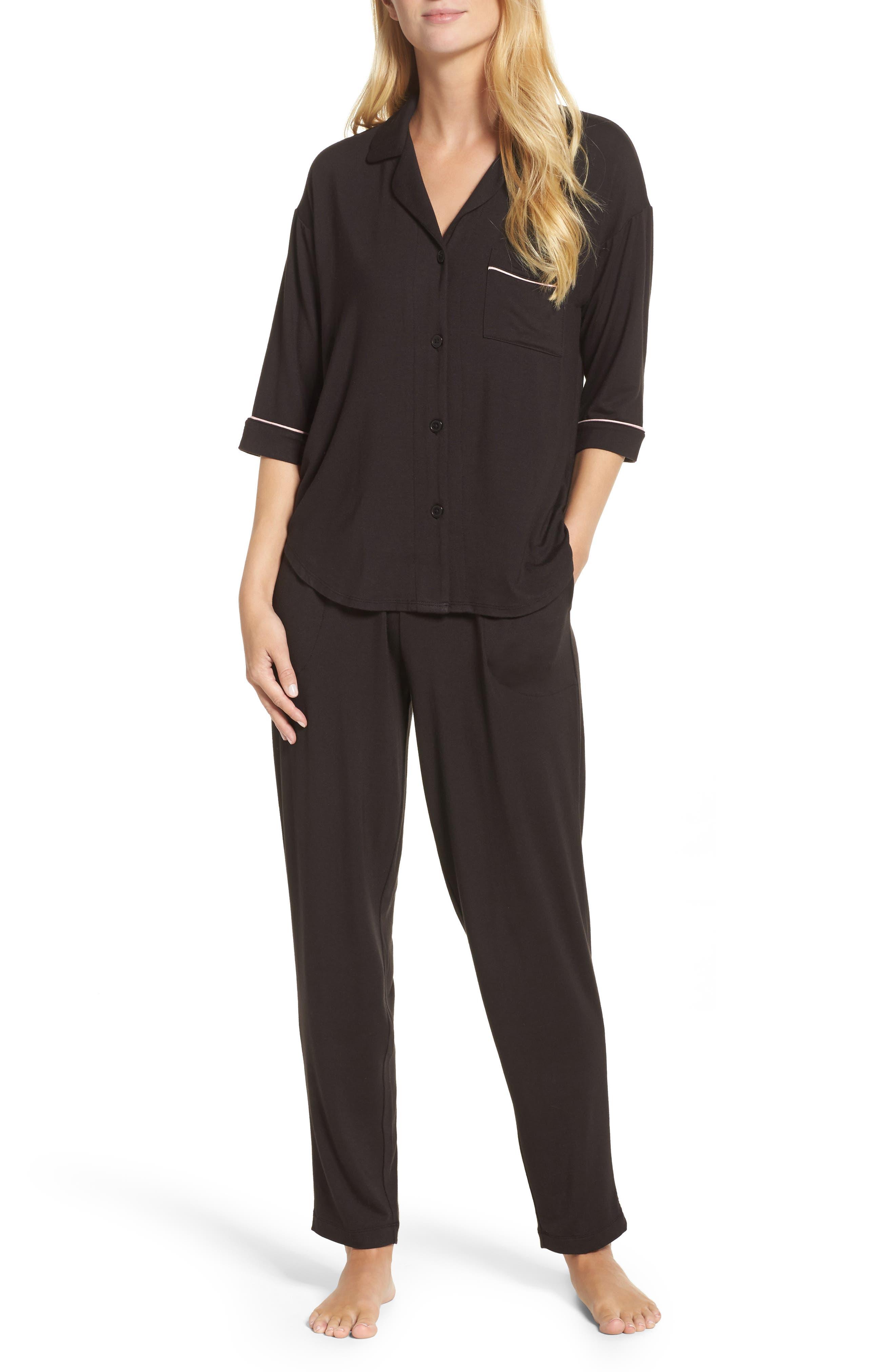 Jersey Pajamas,                         Main,                         color, Black