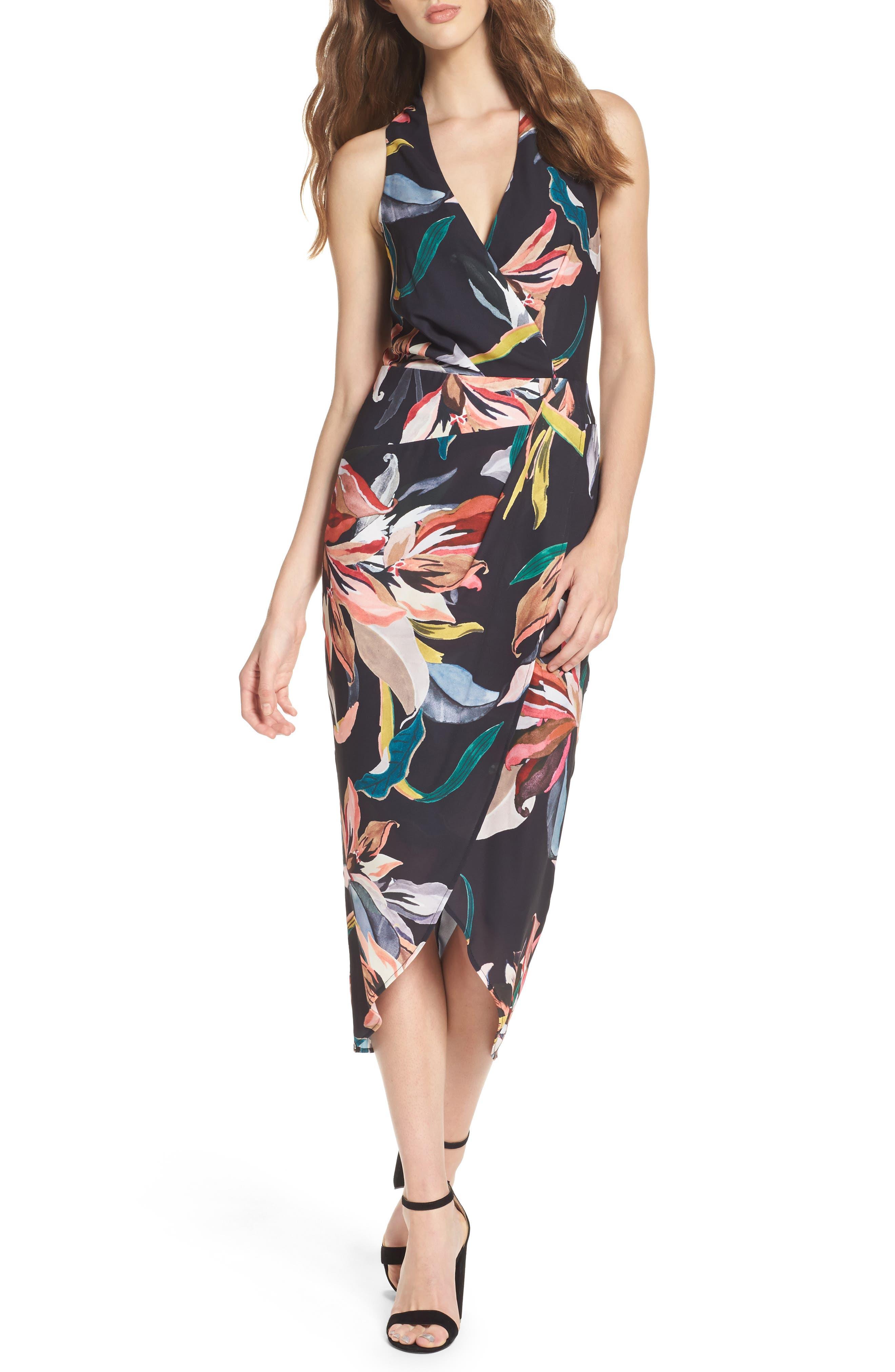 Jourdan Drape Midi Dress,                         Main,                         color, Print