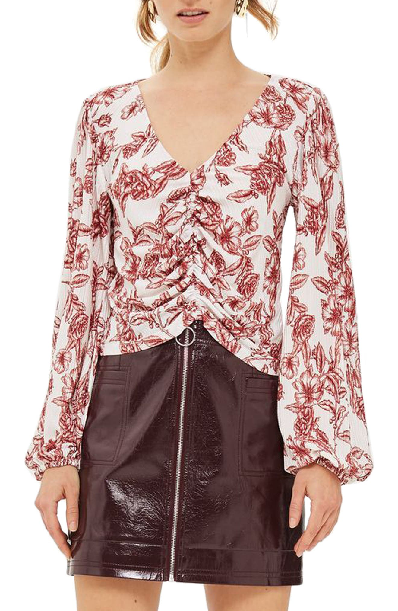 Sketchy Floral Blouse,                         Main,                         color, Cream Multi