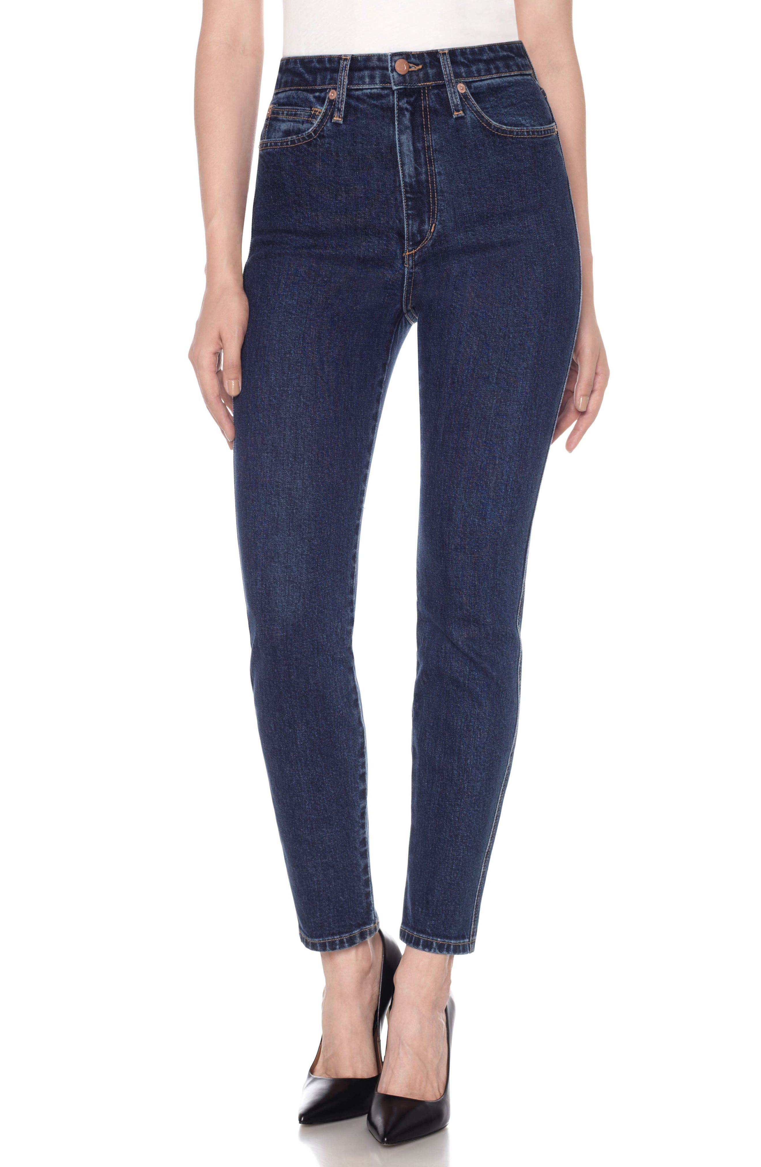 Bella High Waist Ankle Skinny Jeans,                             Main thumbnail 1, color,                             Blue