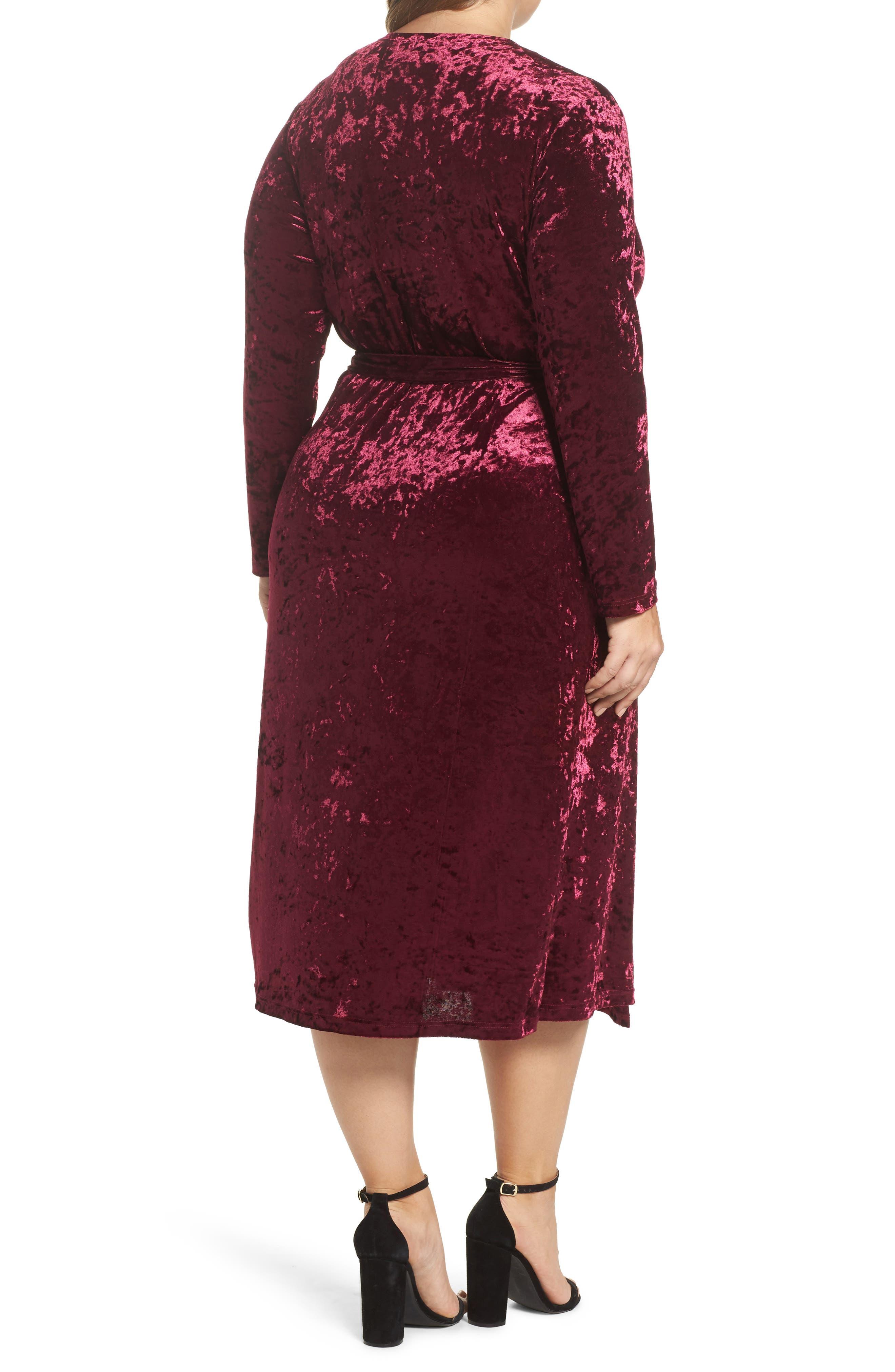 Velvet Midi Wrap Dress,                             Alternate thumbnail 2, color,                             Burgundy