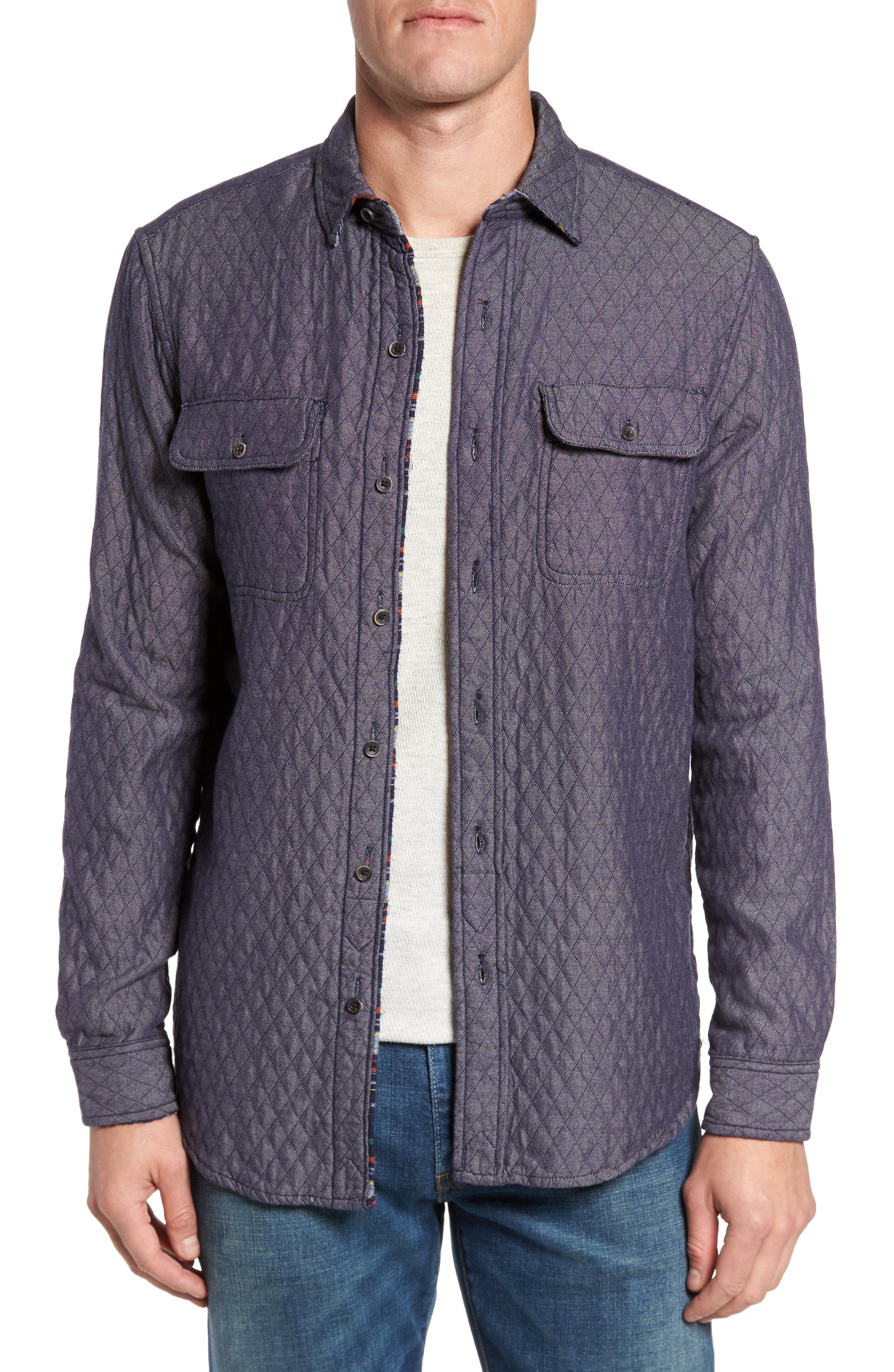 Reversible Double-Face Quilted Shirt Jacket,                             Main thumbnail 1, color,                             Multi Colored Stripe