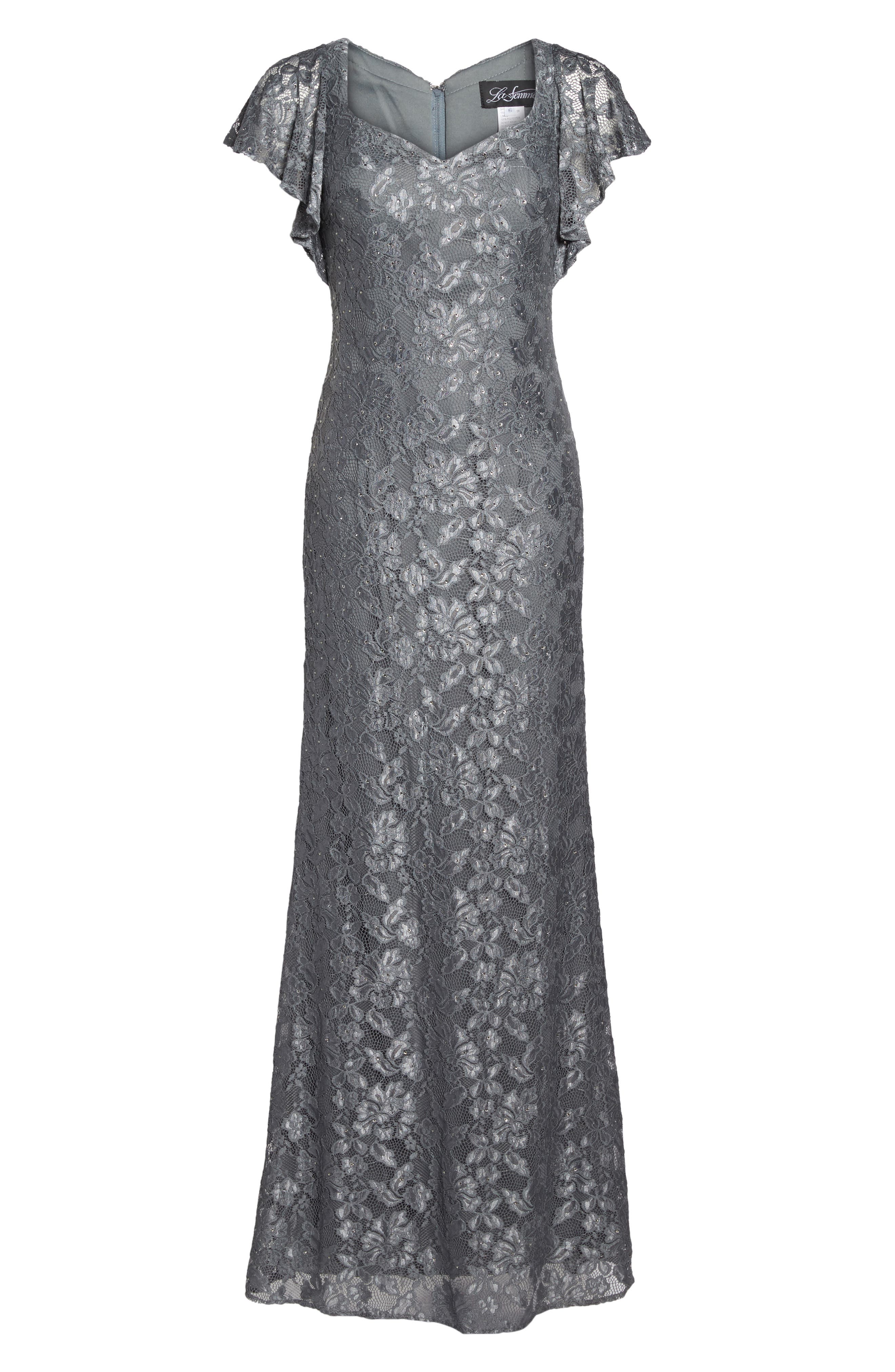 Alternate Image 6  - La Femme Flutter Sleeve Lace Gown