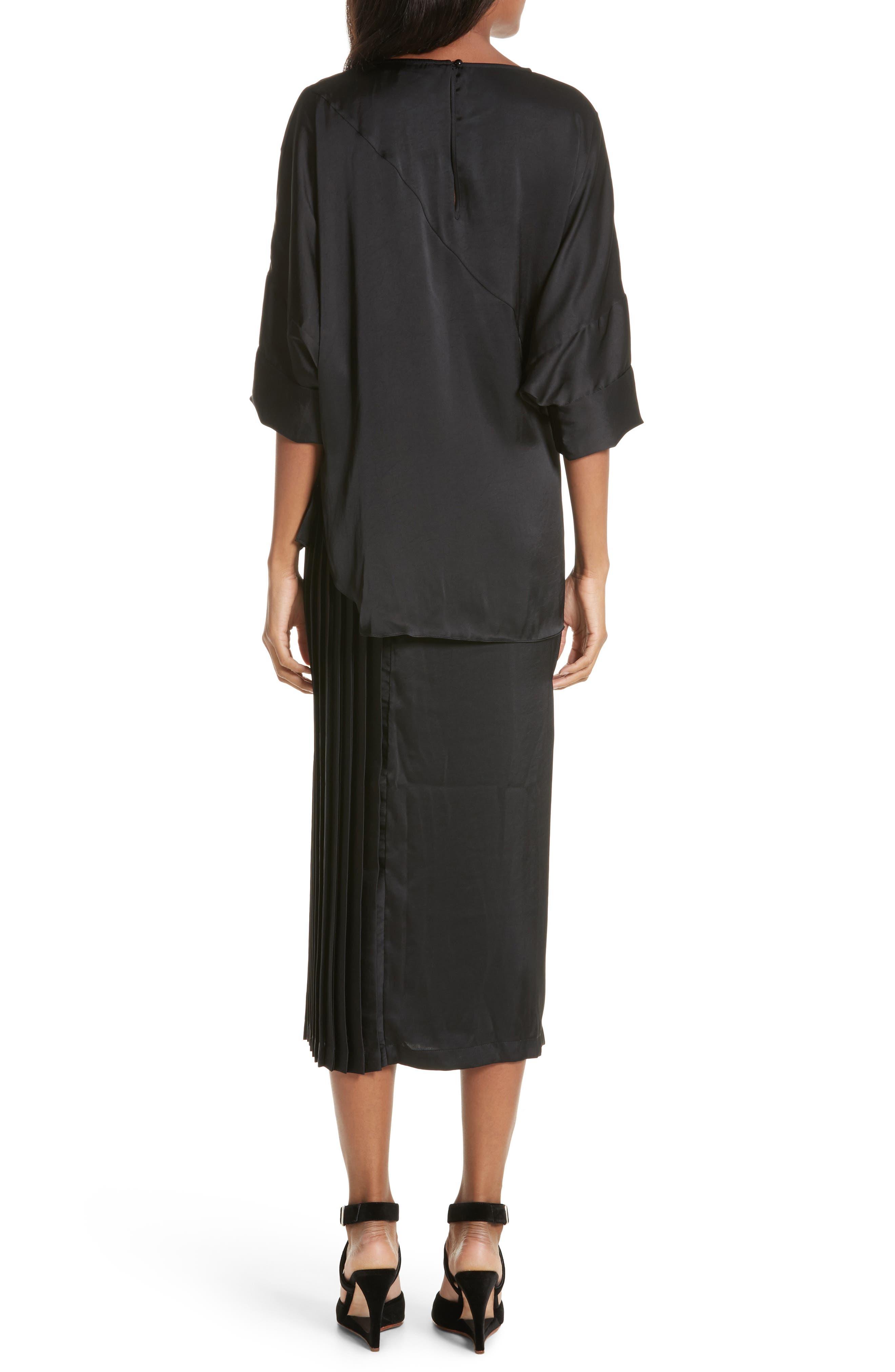 Mure Satin Midi Dress,                             Alternate thumbnail 2, color,                             Black