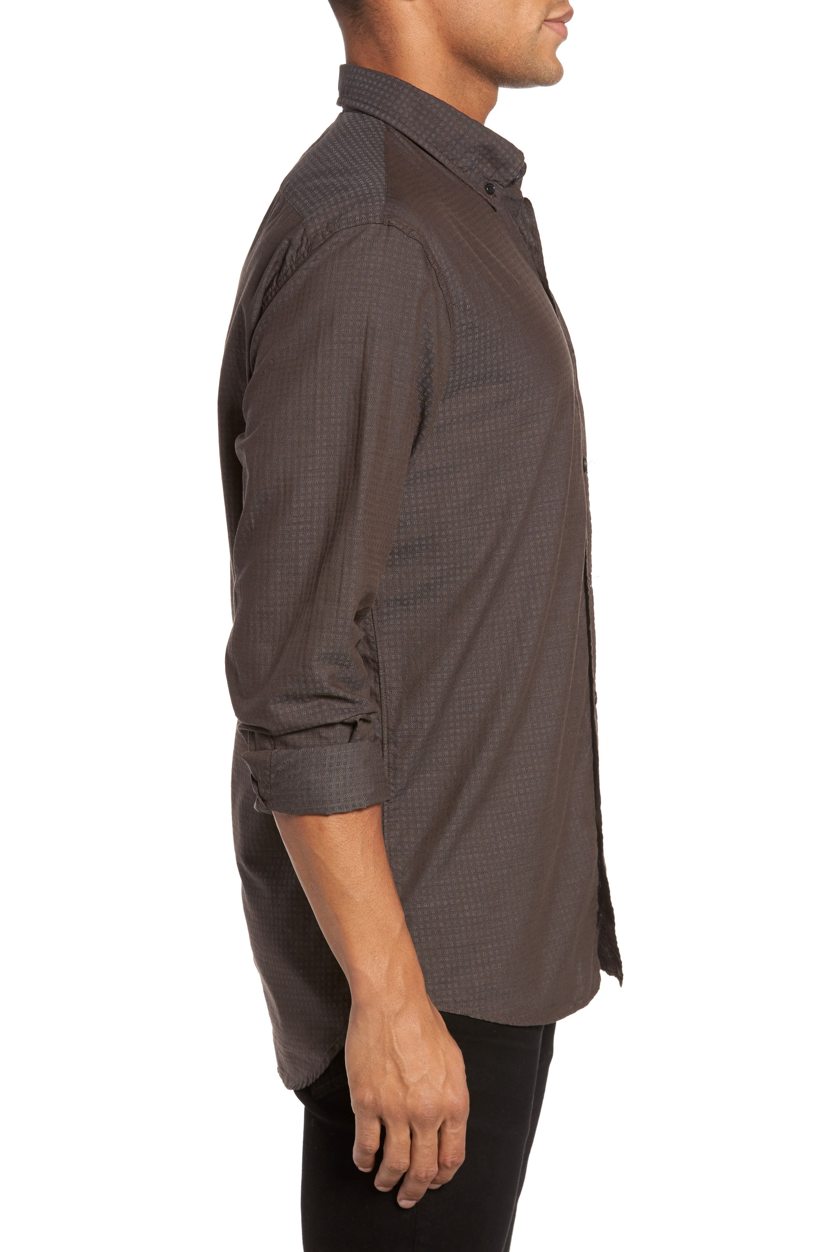 Wallace Slim Fit Sport Shirt,                             Alternate thumbnail 3, color,                             Brown