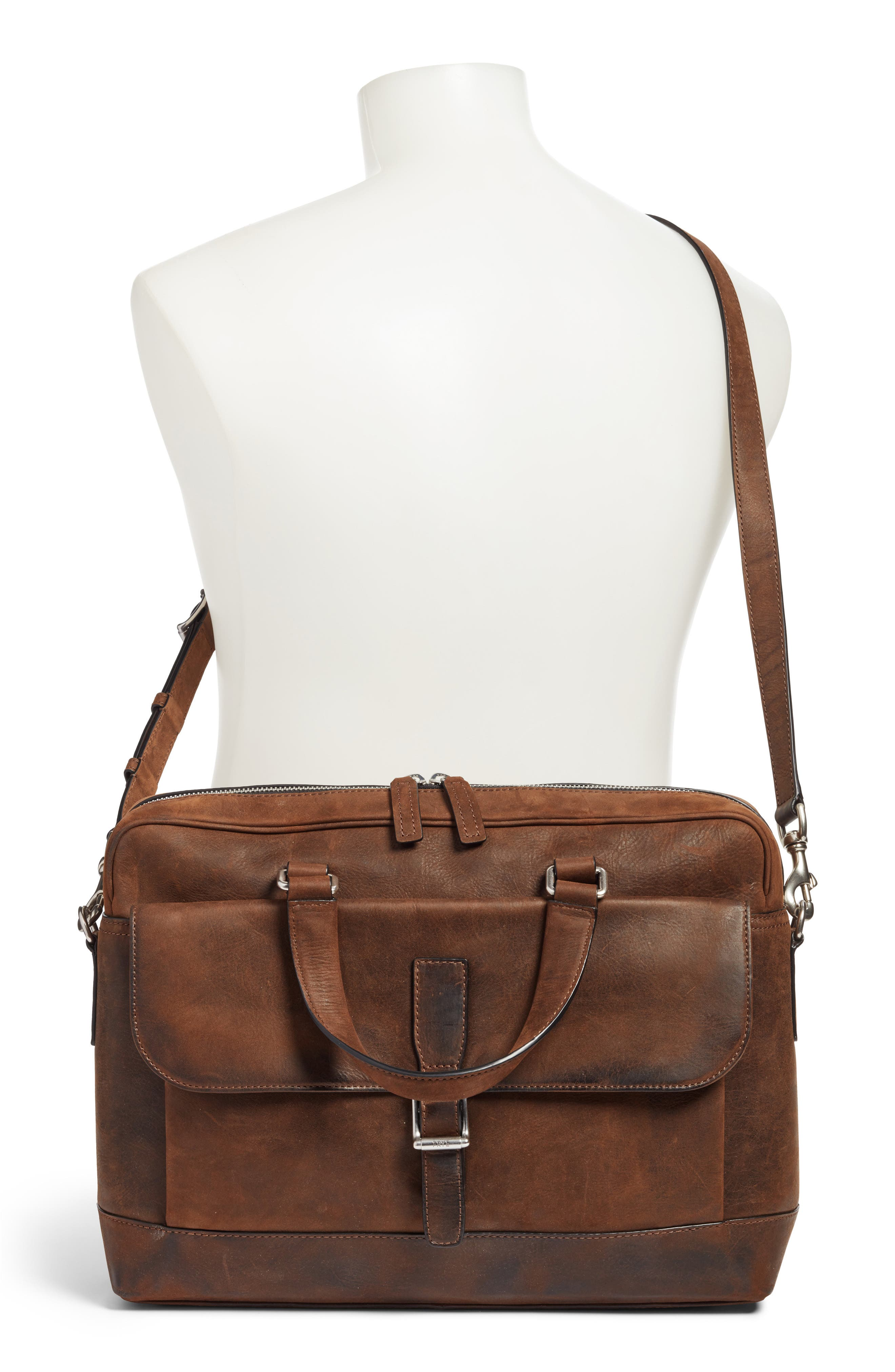 Oliver Leather Briefcase,                             Alternate thumbnail 2, color,                             Dark Brown