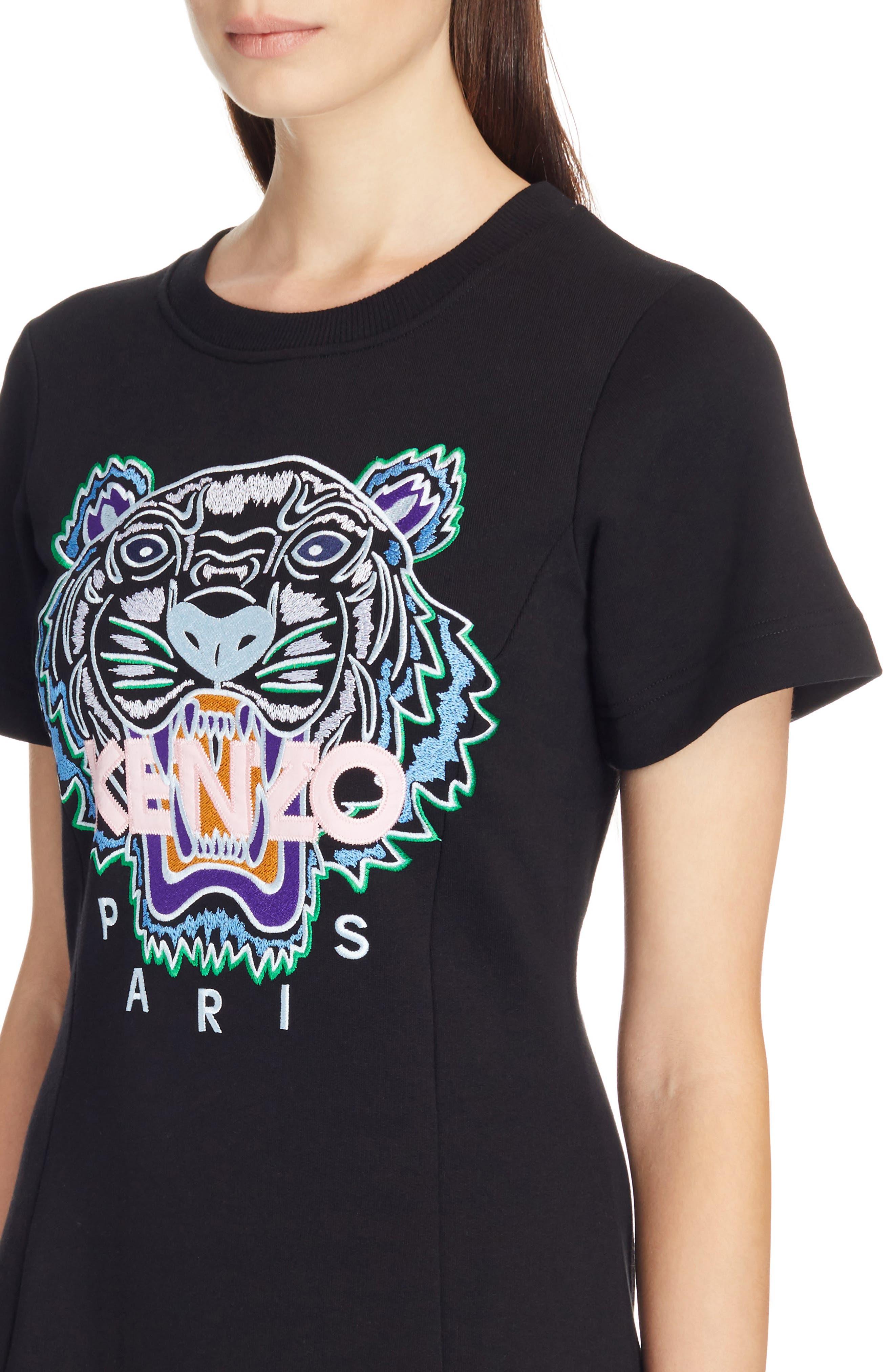 Tiger Flare Embroidered T-Shirt Dress,                             Alternate thumbnail 4, color,                             Black