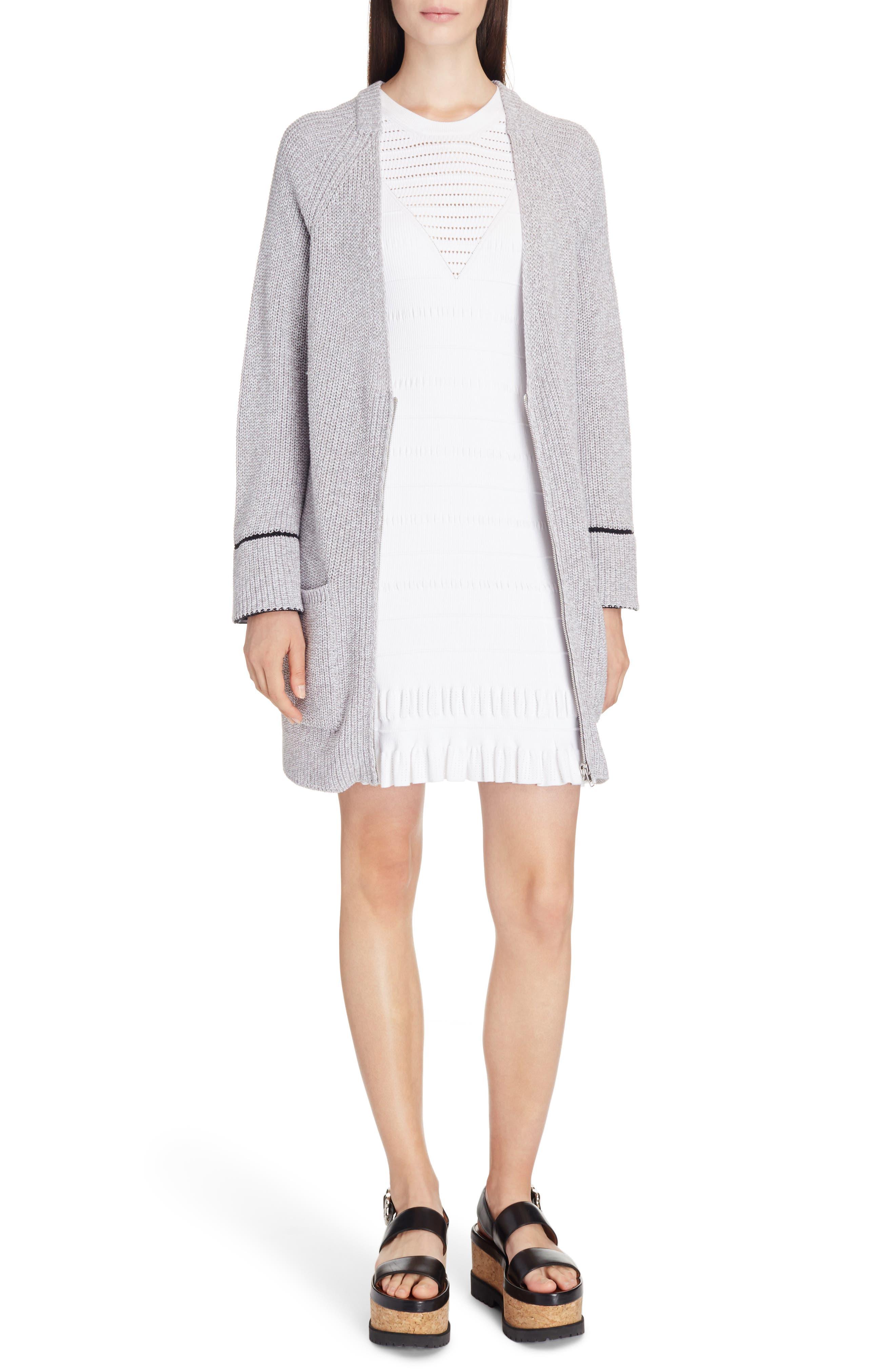 Knit Ruffle Hem Dress,                             Alternate thumbnail 5, color,                             White