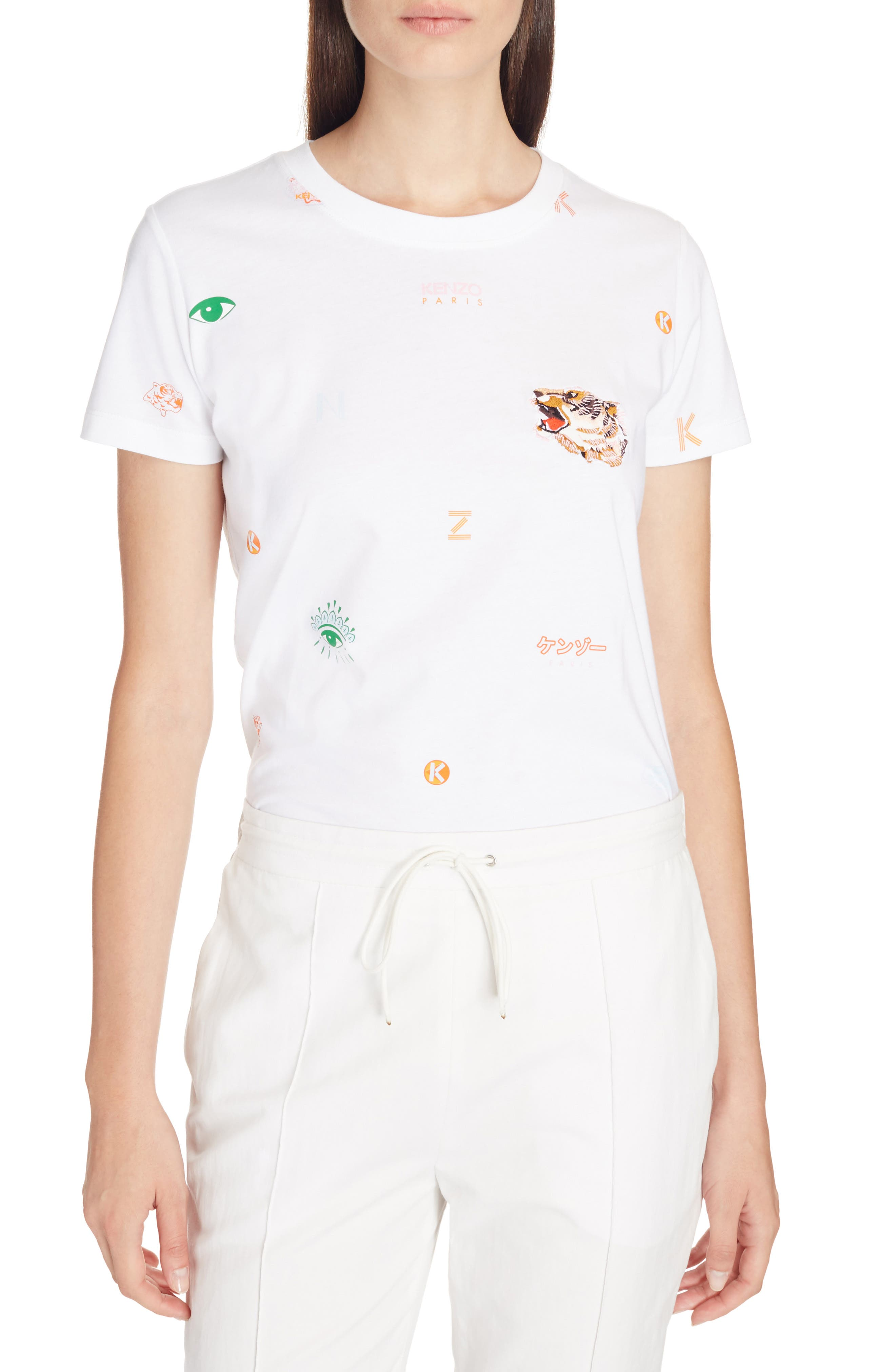 Multi Icons Graphic Tee,                         Main,                         color, White