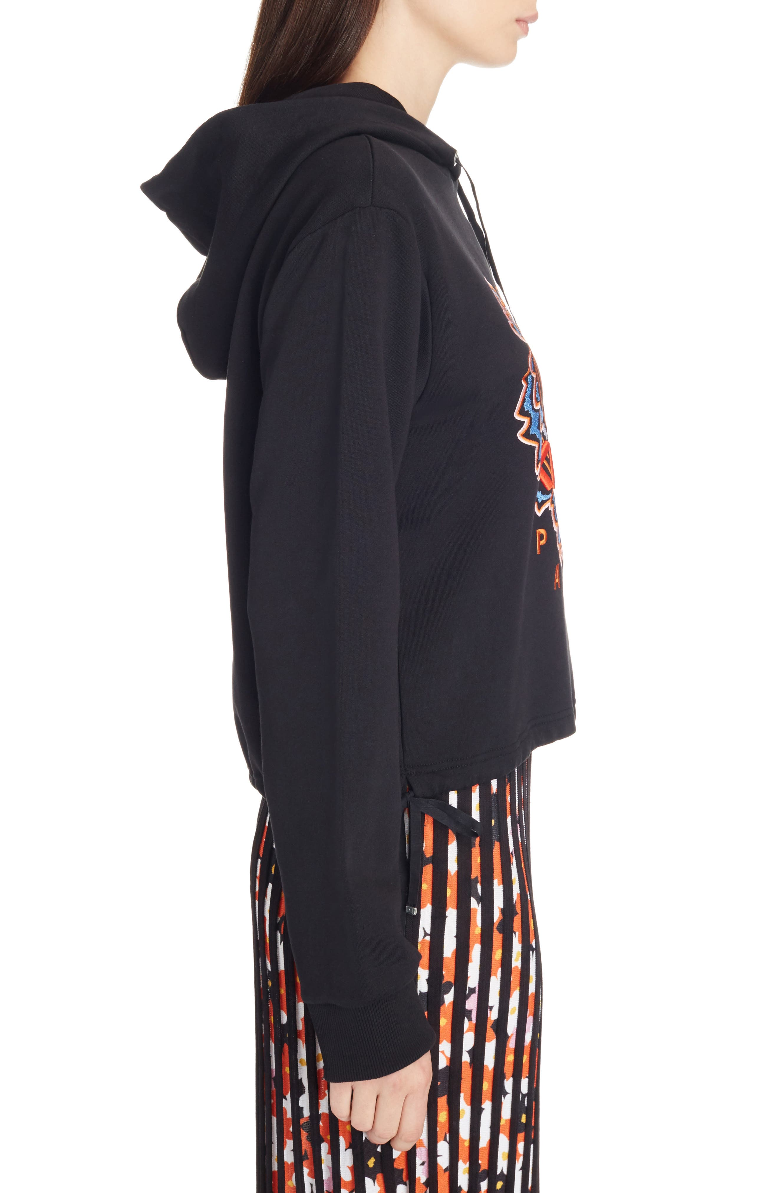 Tiger Embroidered Hoodie,                             Alternate thumbnail 4, color,                             Black