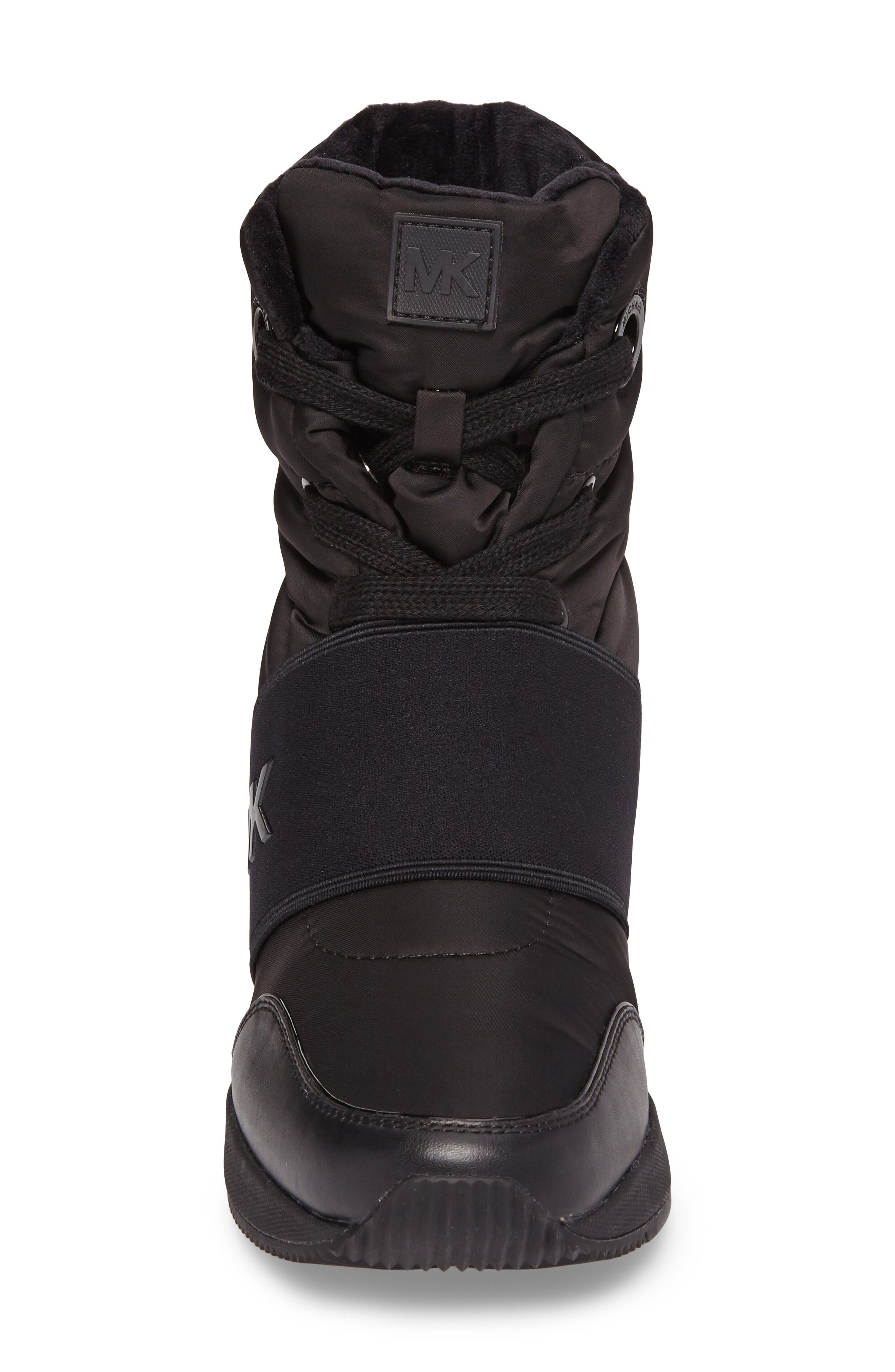 Shay Wedge Bootie,                             Alternate thumbnail 4, color,                             Black Nylon Fabric