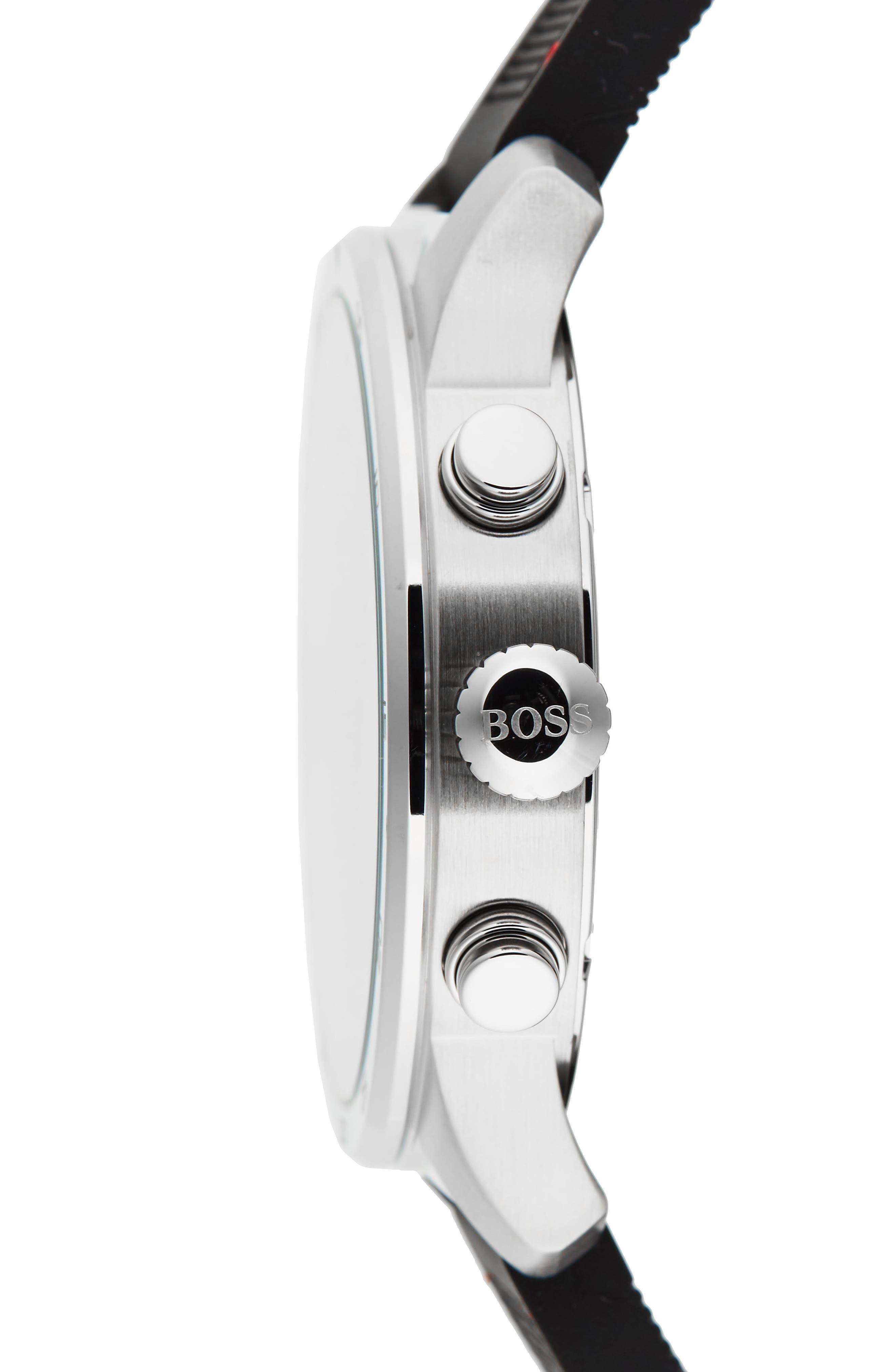 Professional Chronograph Leather Strap Watch, 42mm,                             Alternate thumbnail 3, color,                             Black/ Black