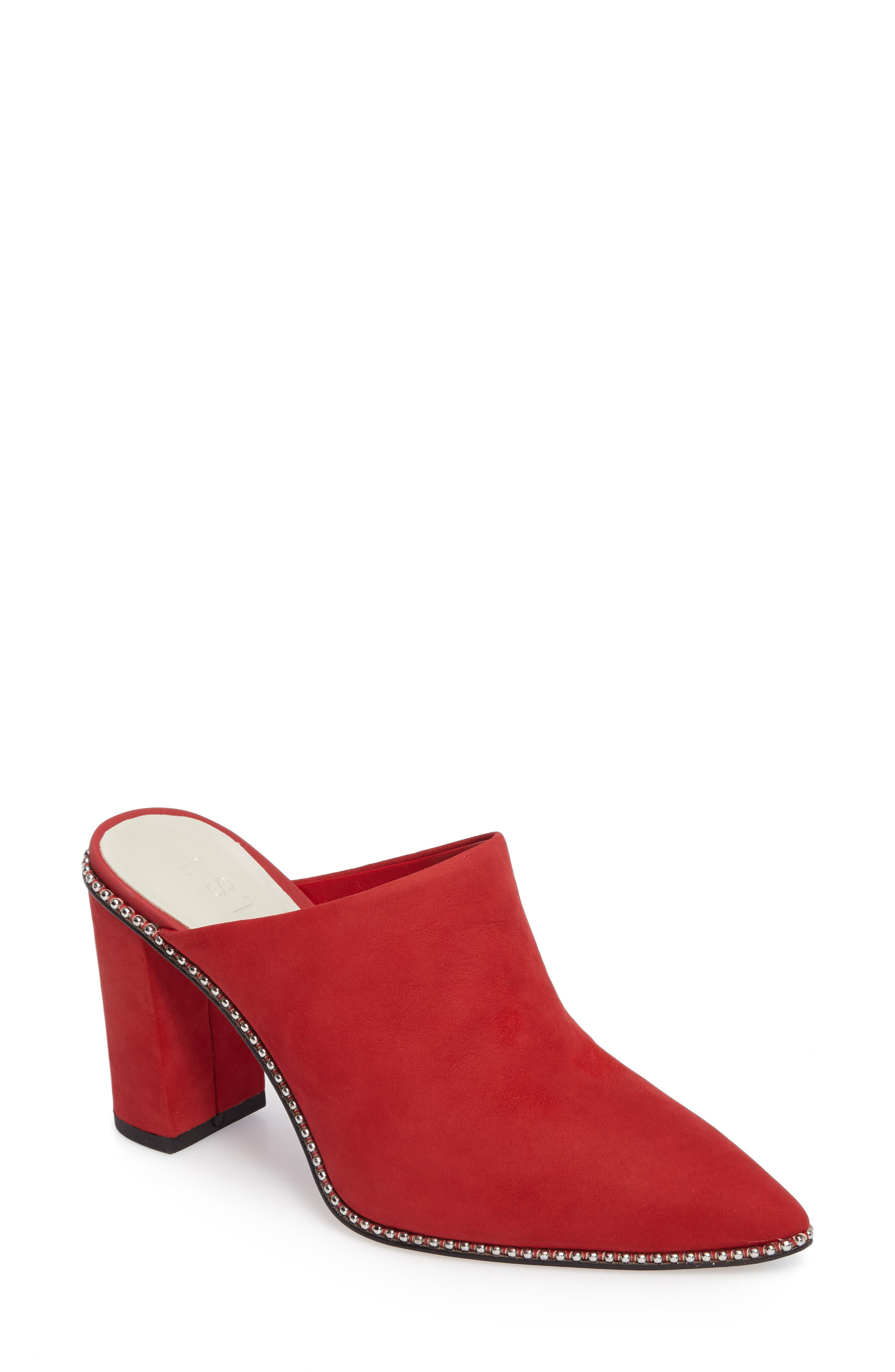 Relle Mule,                         Main,                         color, Scarlet Leather