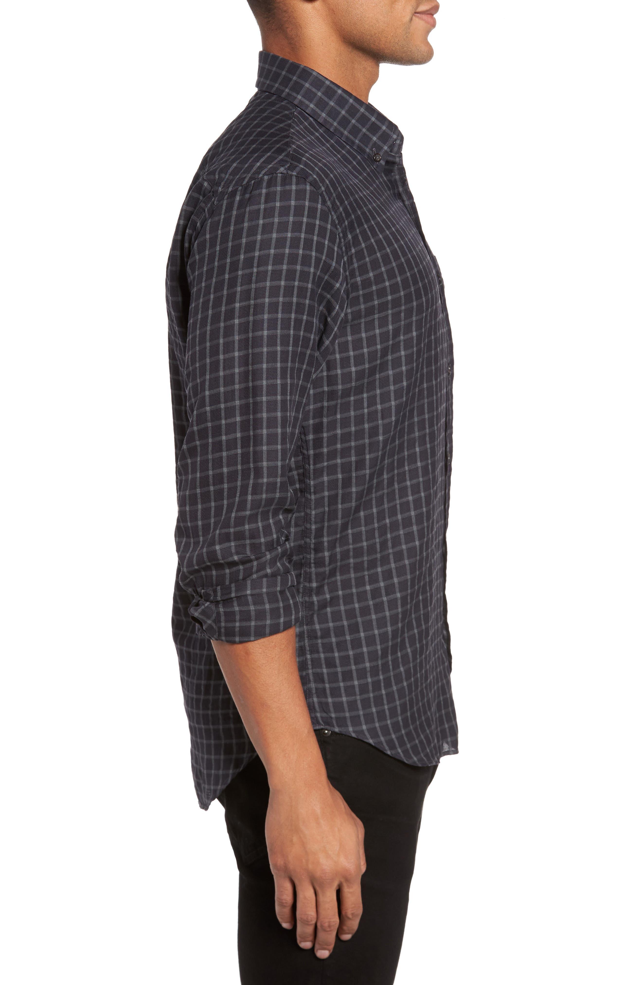 Rosedale Slim Fit Check Sport Shirt,                             Alternate thumbnail 3, color,                             Navy/ Grey